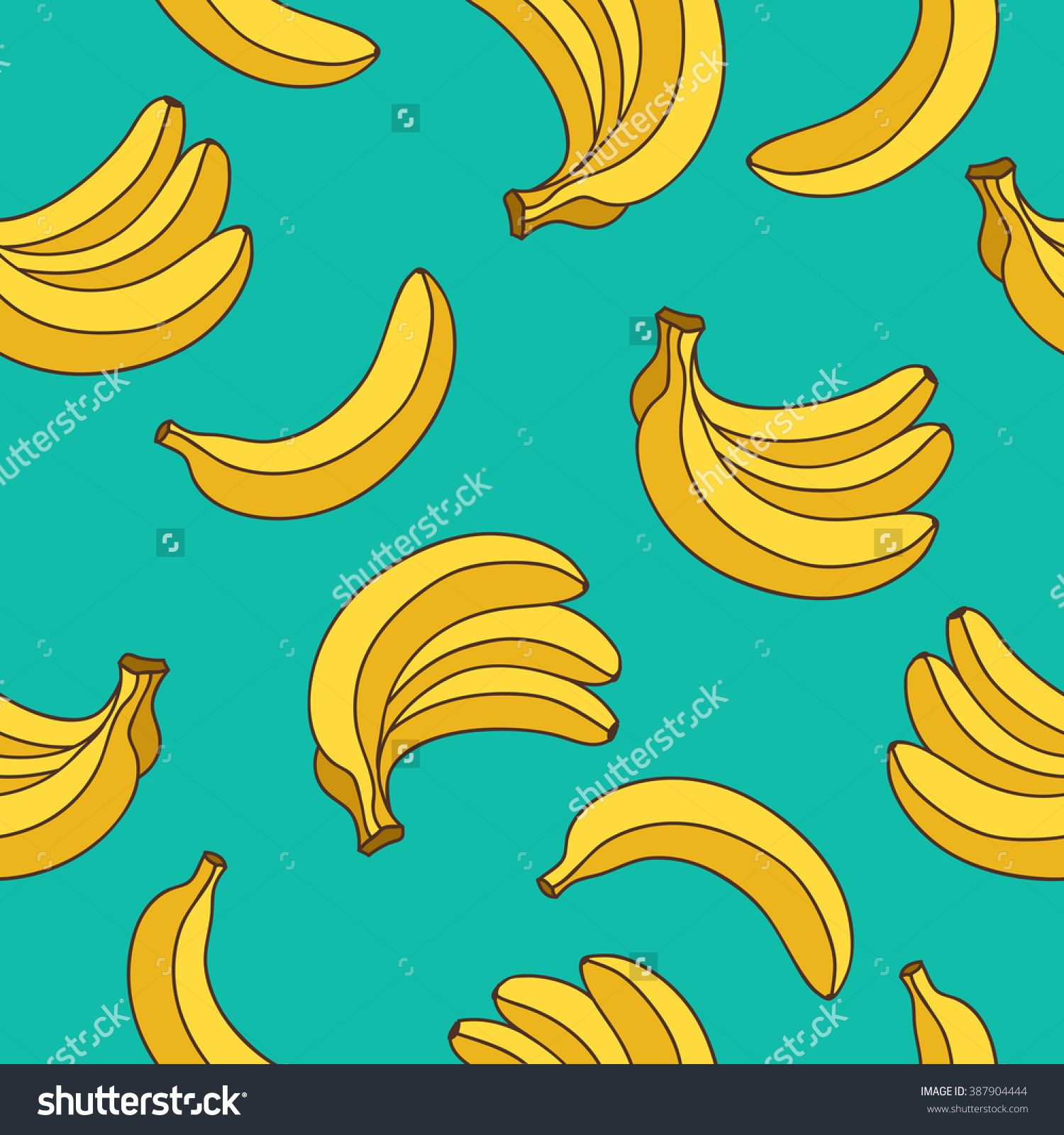 Seamless vector pattern of yellow bananas on a blue background ...