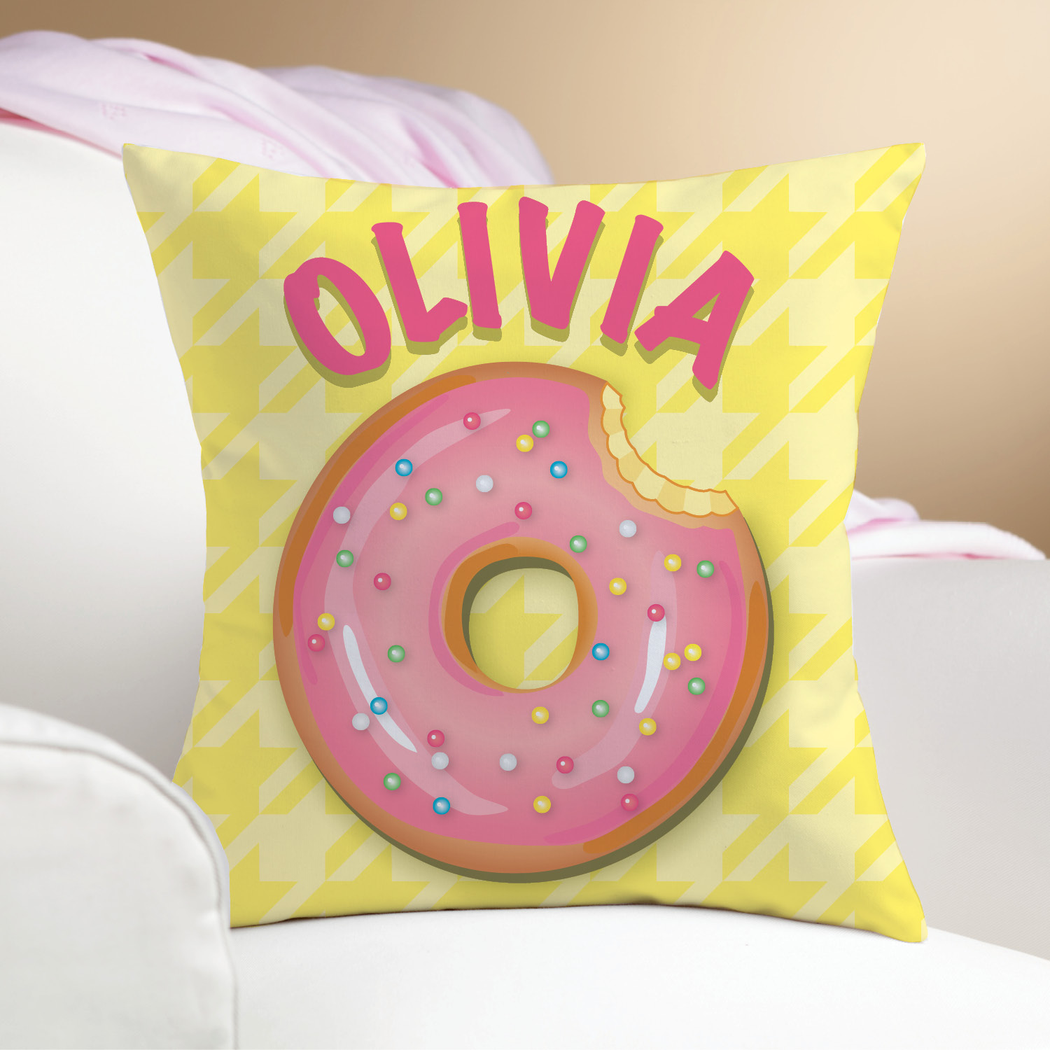 Yummy Donut Personalize Pillow---Yellow | Personalized Planet