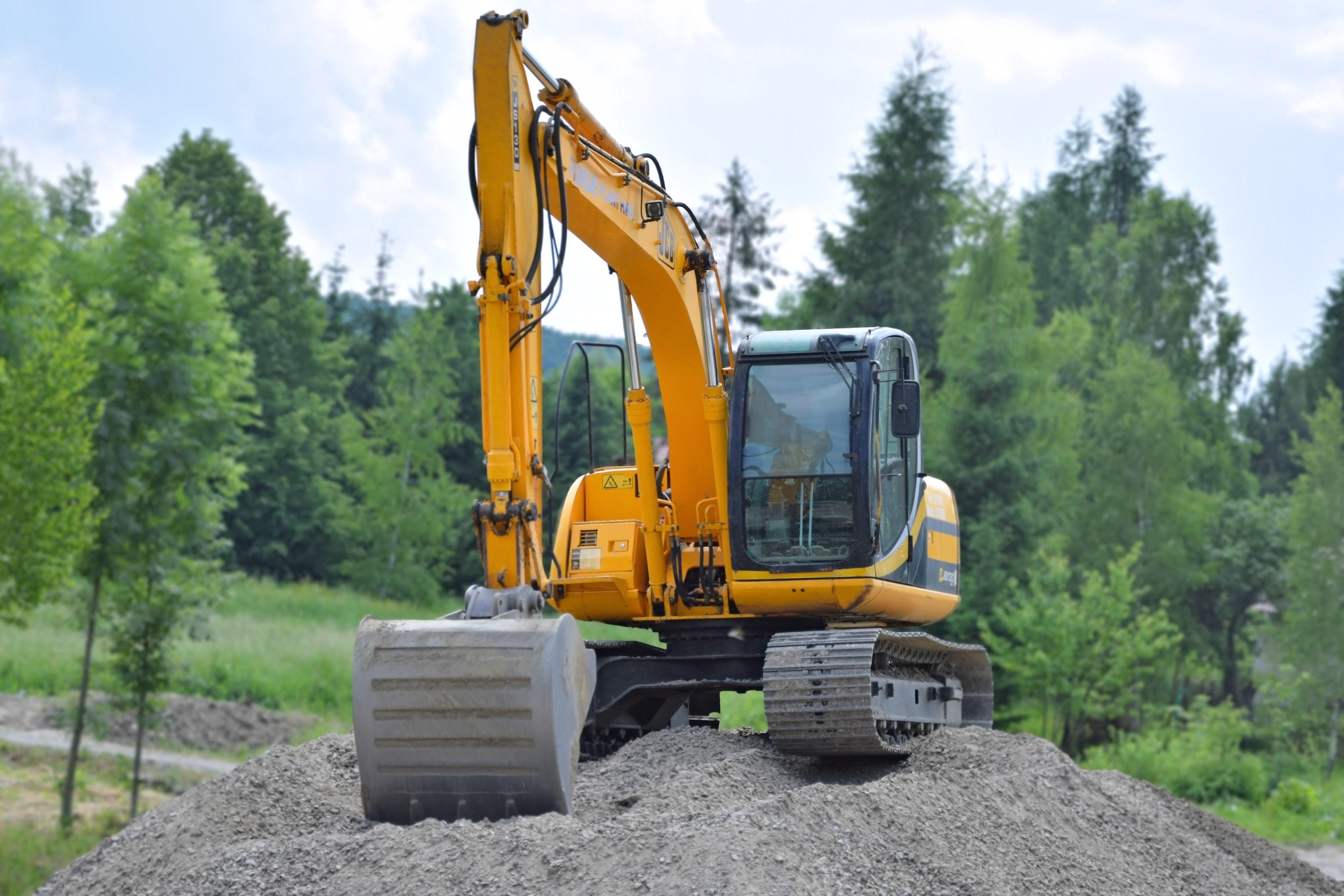 Yellow Excavator, Trees, Gravel, Excavator, Construction, HQ Photo