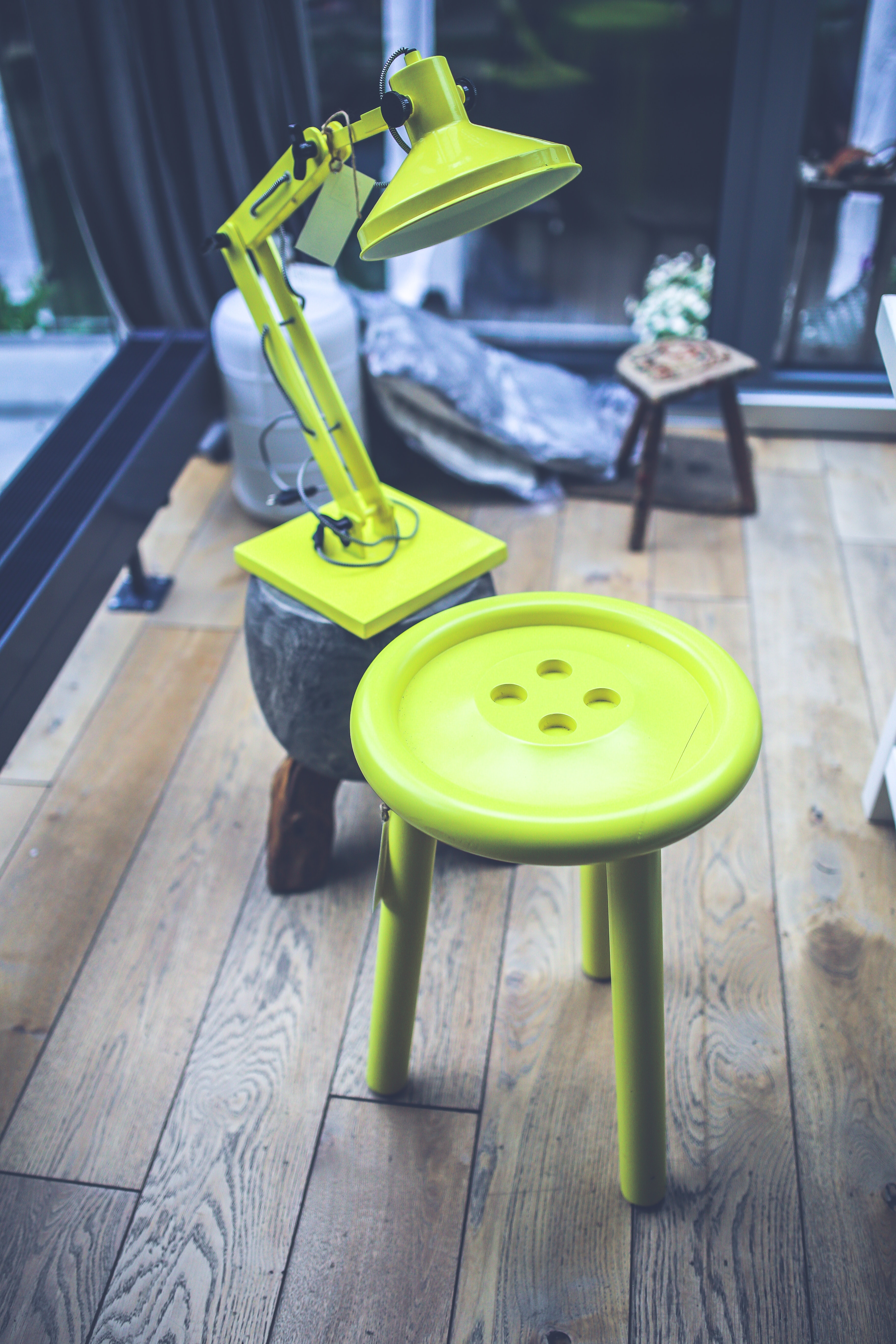 Yellow lamp and little table, Accessories, Outdoors, Wooden, Wood, HQ Photo