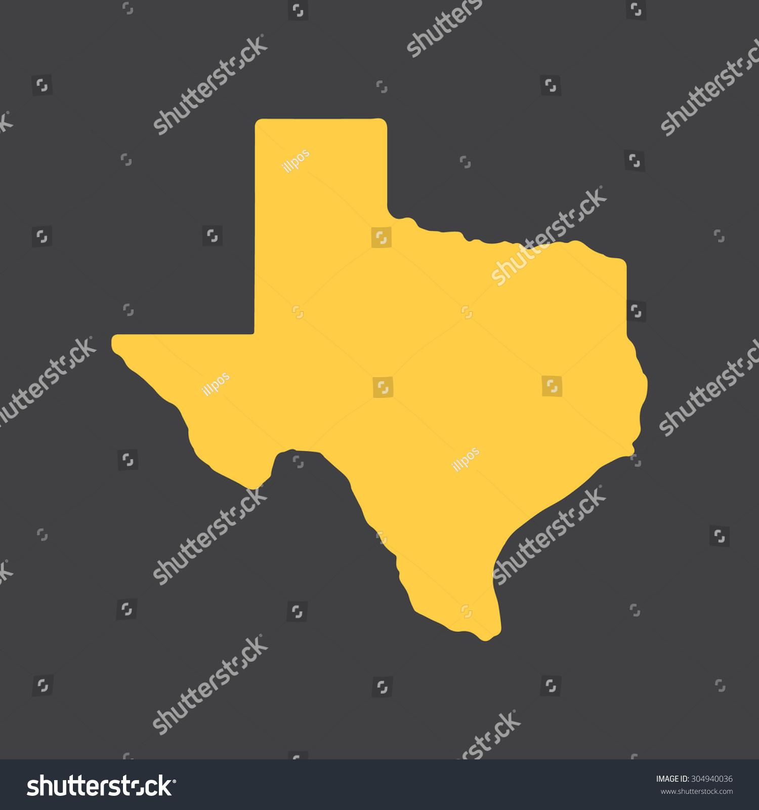 Texas Yellow State Border Map Vector Stock Vector 304940036 ...