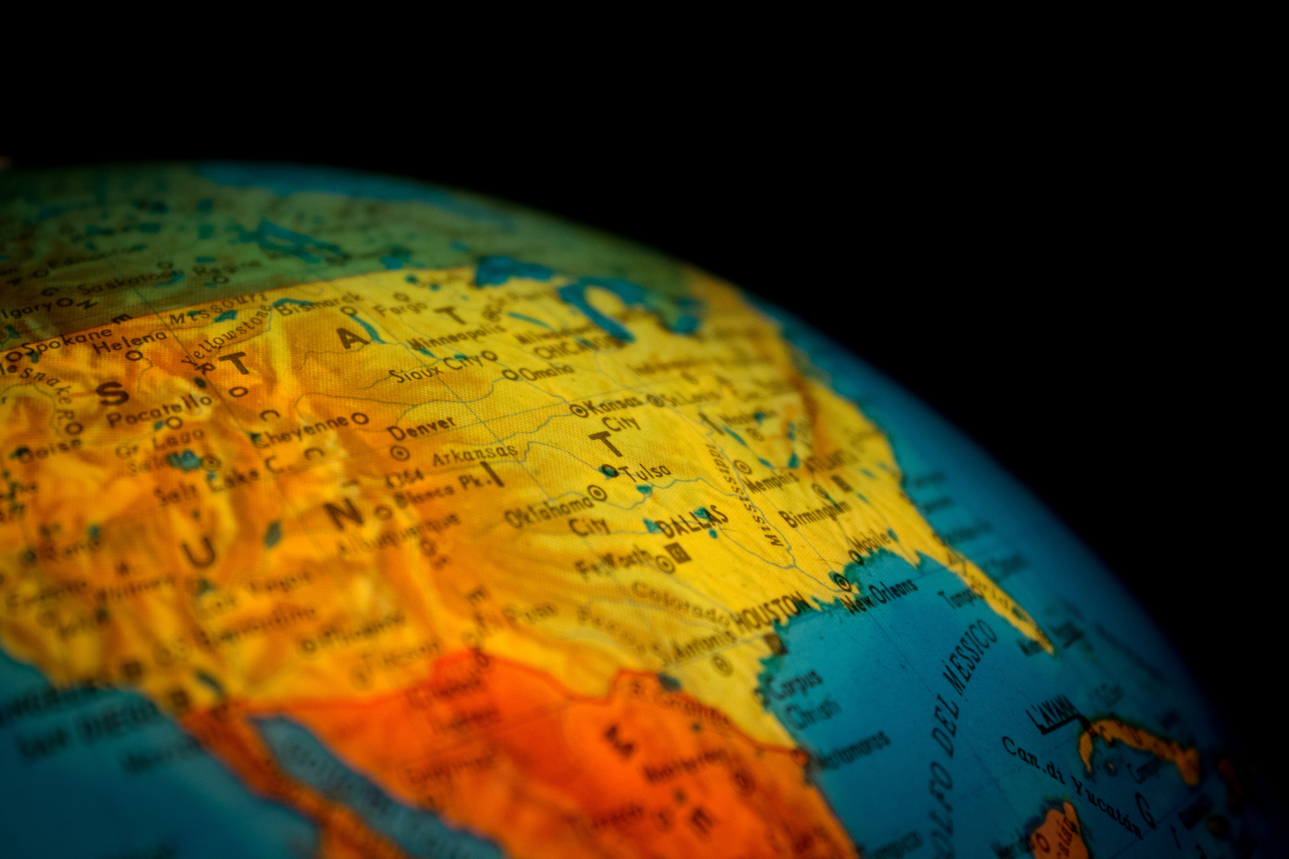 Yellow Map, Ball-shaped, Blur, Close-up, Continent, HQ Photo