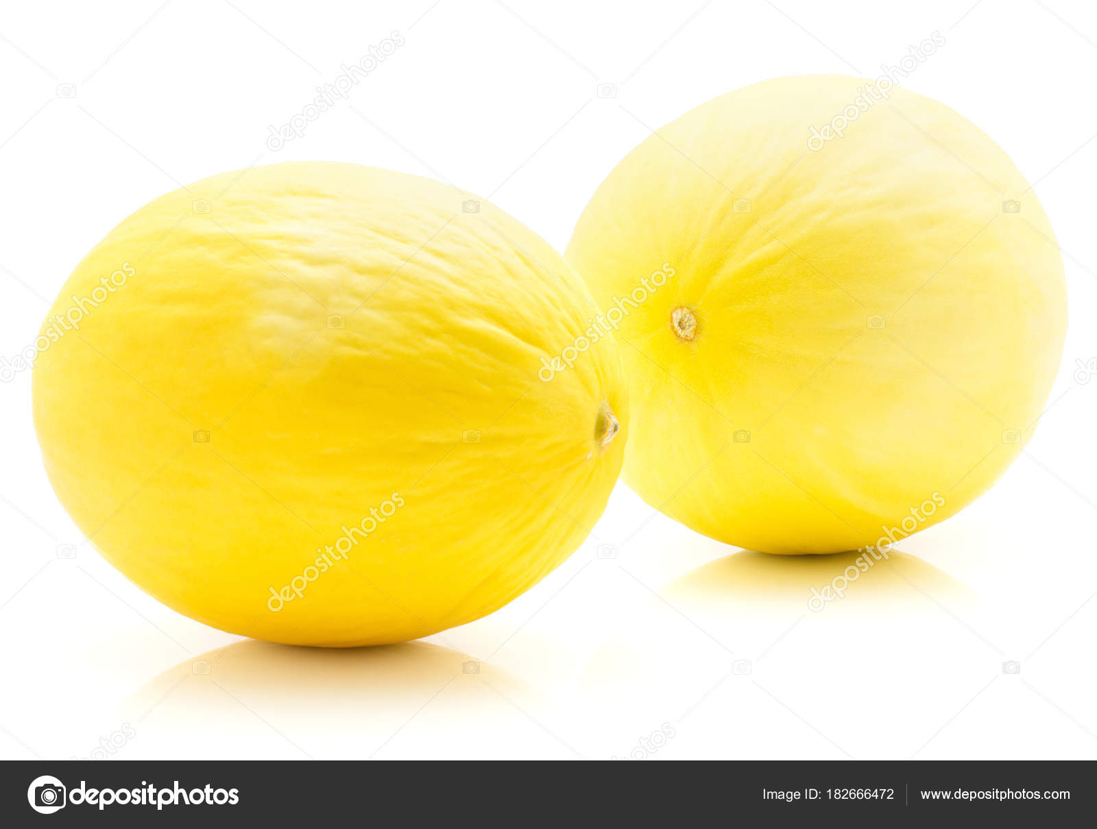 Yellow Honeydew Melons Isolated White Background Two Whol — Stock ...