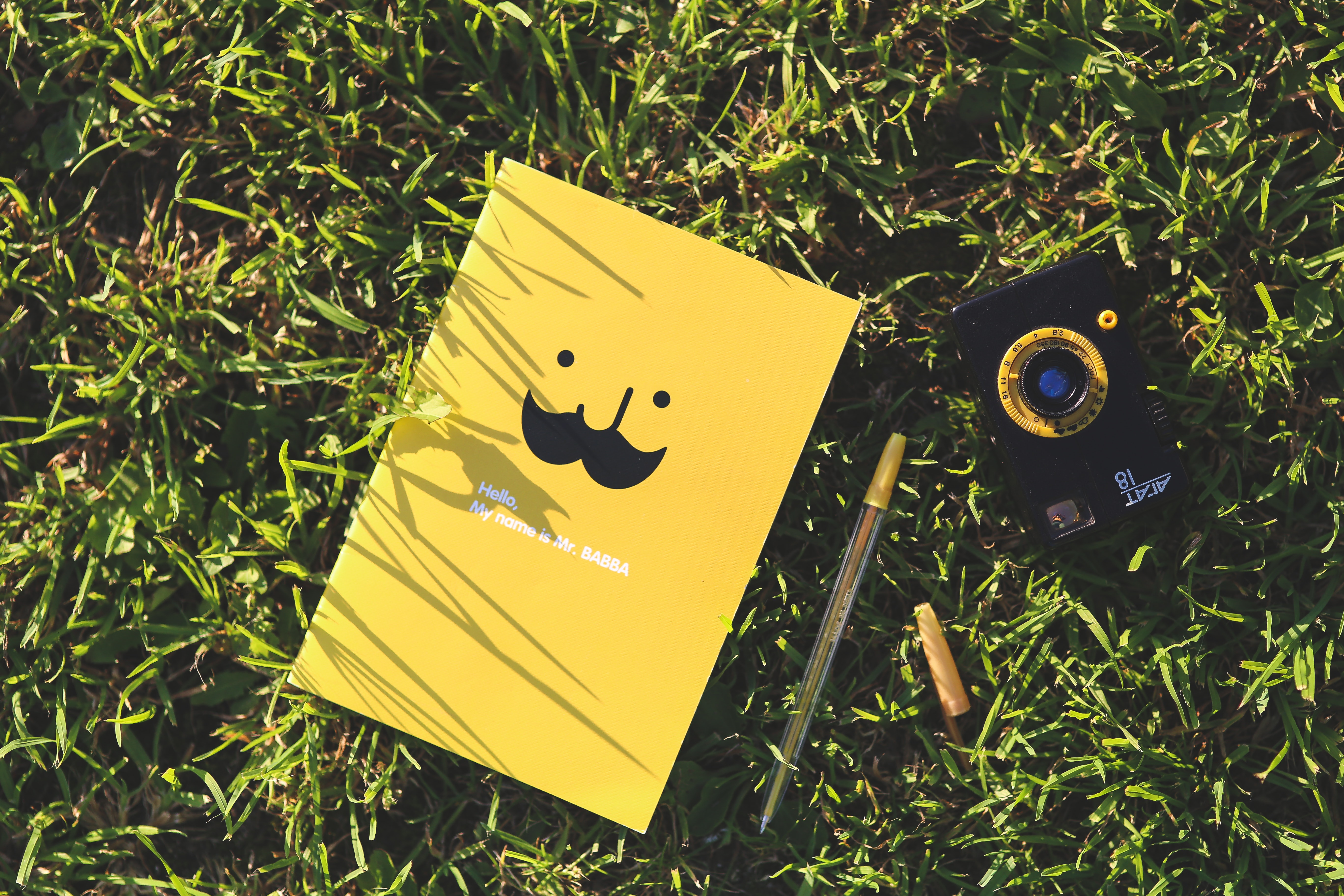 Yellow notebook on the grass, Camera, Mustache, Wood, Tree, HQ Photo