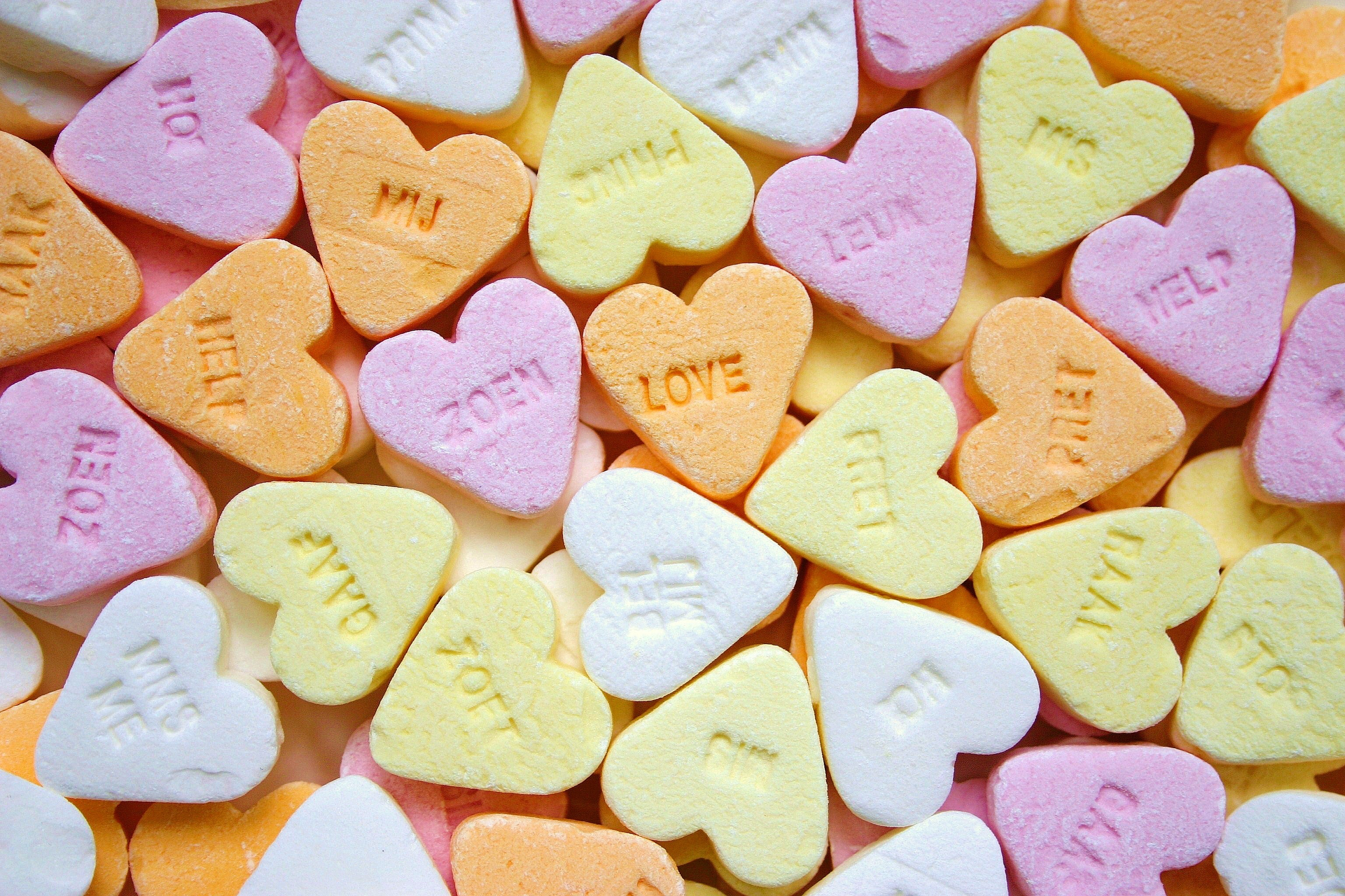 Yellow Pink Orange and White Loves Heart Candies, Candy, Romance, Sweet, Sugar, HQ Photo
