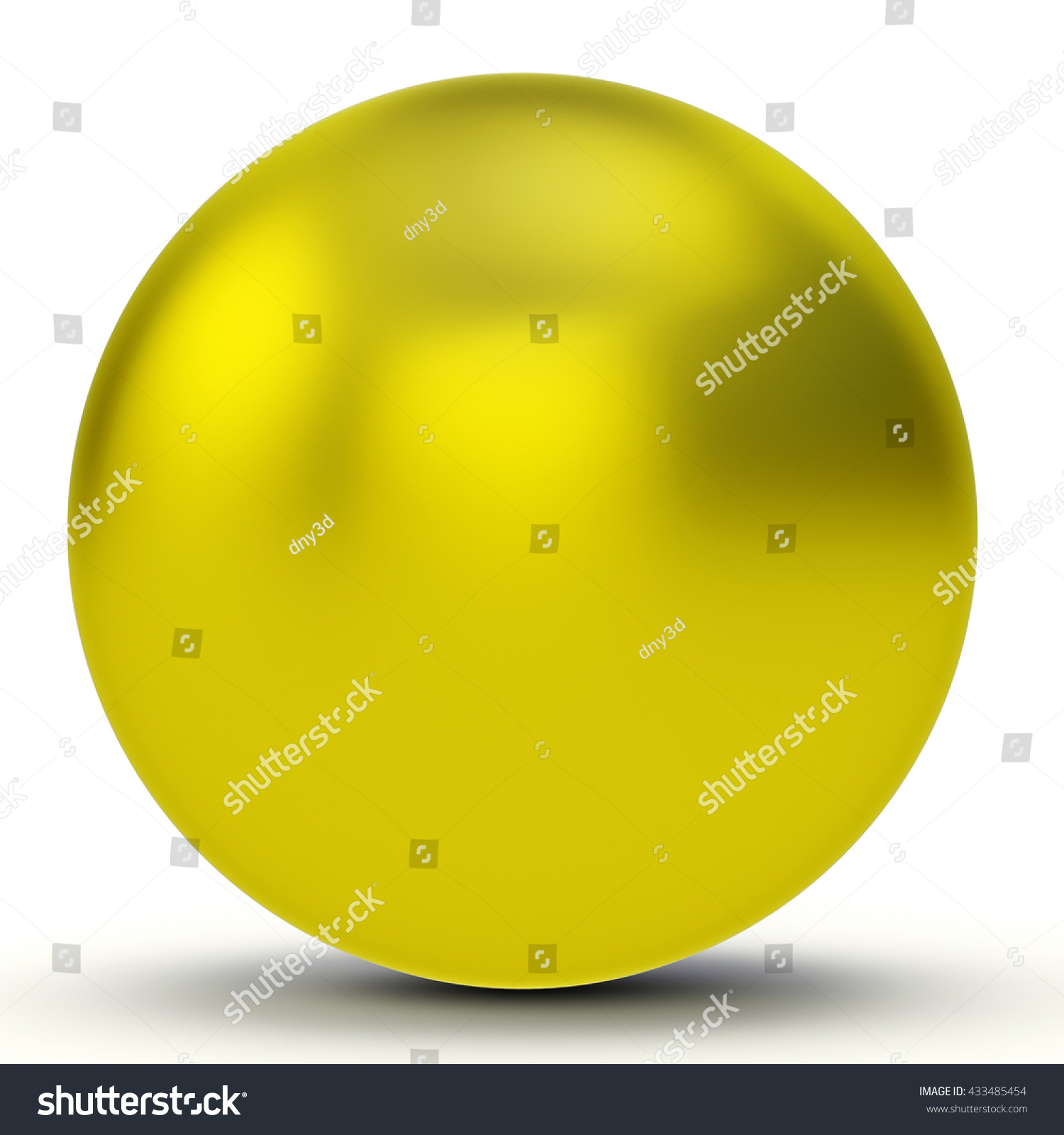 3d Yellow Sphere On White Background Stock Illustration 433485454 ...
