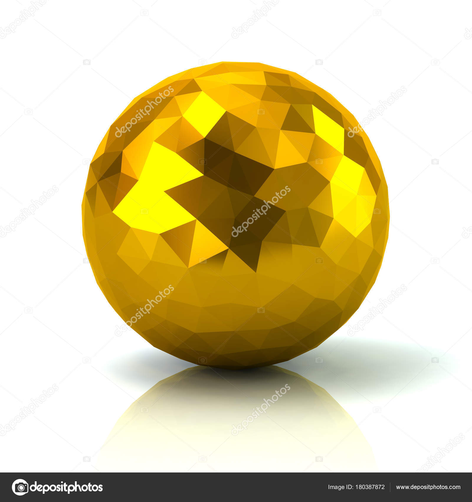 Golden Low Poly Sphere Illustration White Background — Stock Photo ...