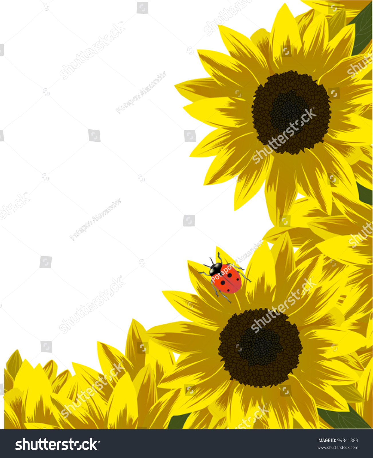 Illustration Red Ladybird On Yellow Sunflower Stock Vector 99841883 ...