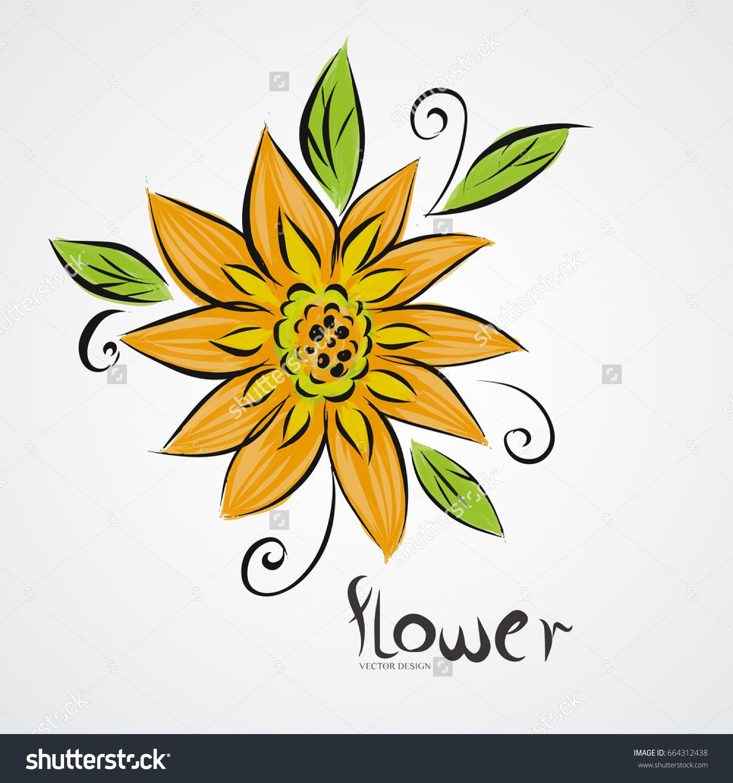Yellow Sunflower drawing,vector illustration | vector design | Pinterest