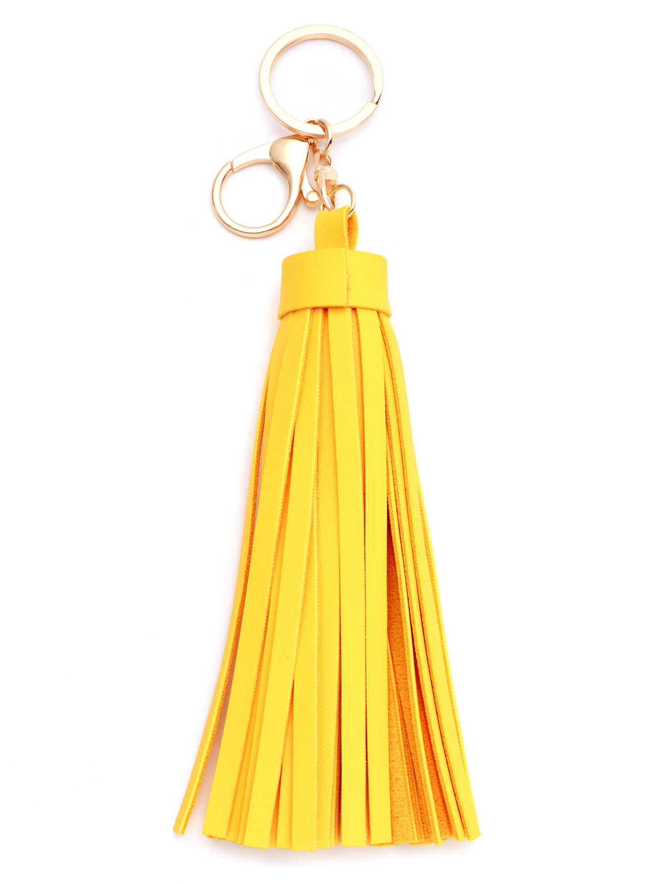 Yellow Faux Leather Tassel Keychain -SheIn(Sheinside)