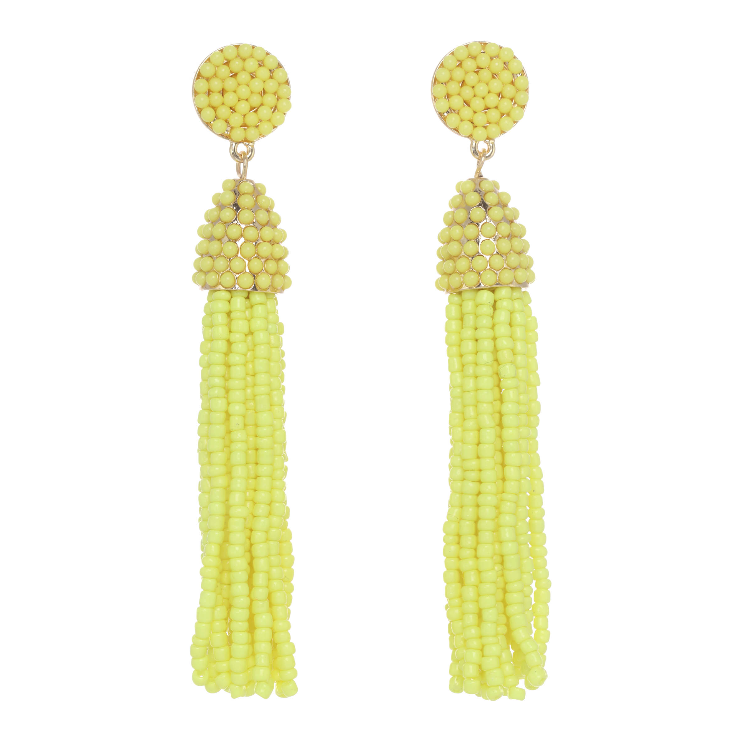 Beaded Tassel Earring (Yellow) - Stella and Ruby