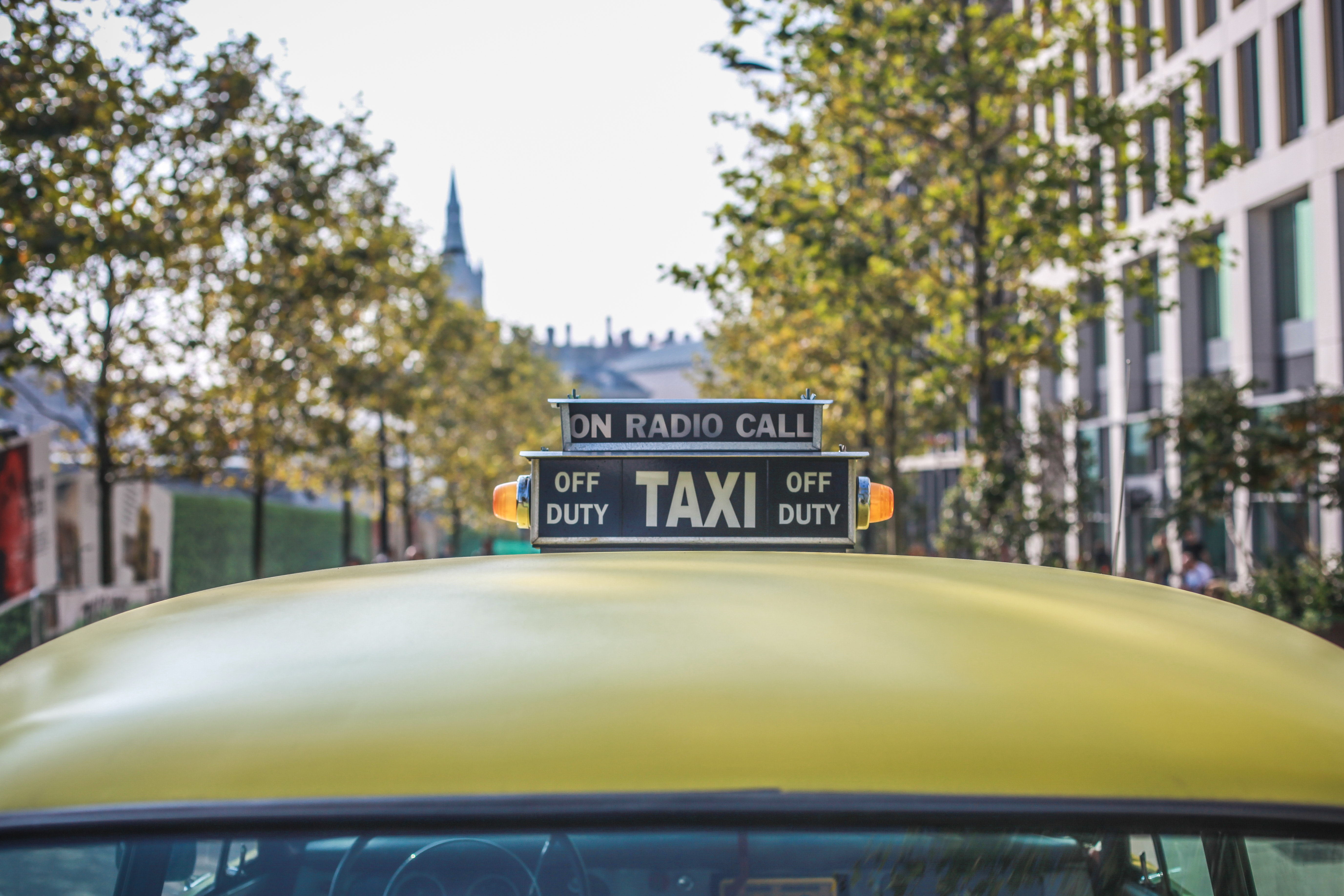 Yellow Taxi Car, Sign, Vehicle, Urban, Trees, HQ Photo