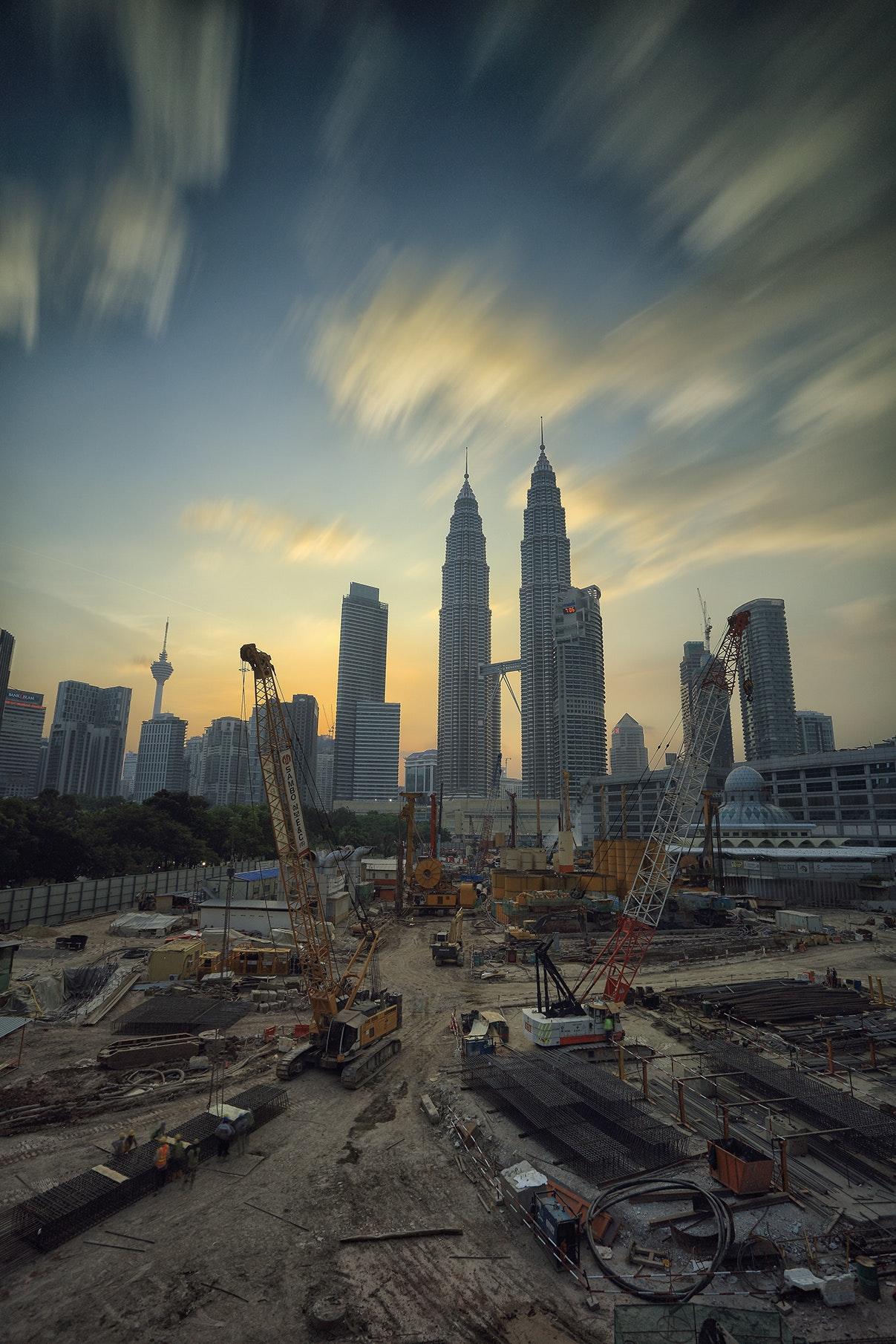 Yellow Tower Crane, Progress, Petronas twin towers, Outdoors, Shopping, HQ Photo