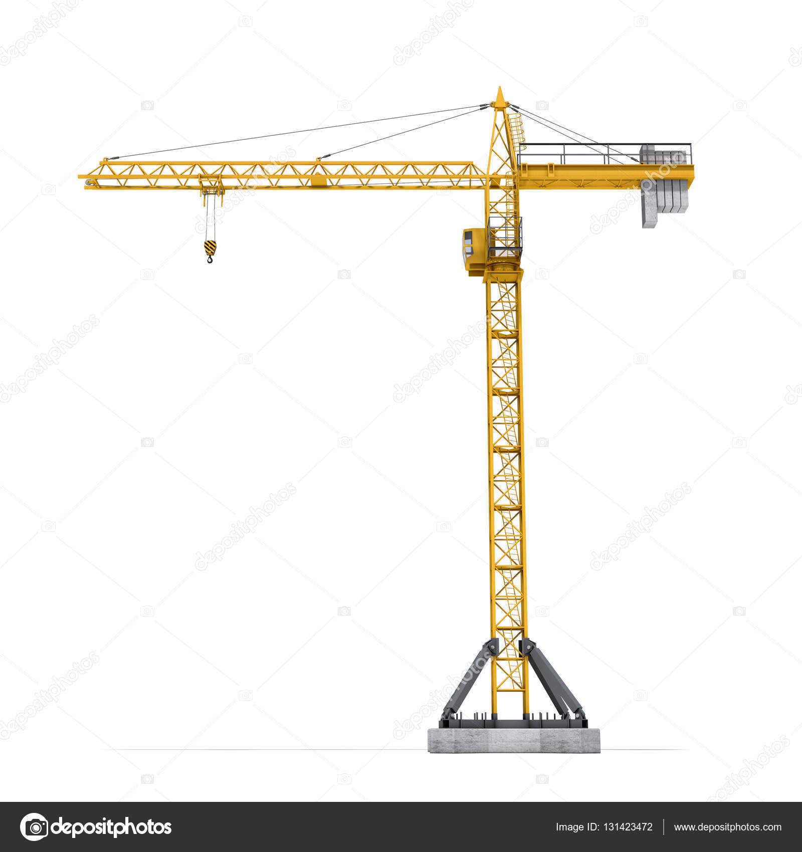 Rendering of yellow tower crane full-height isolated on the white ...