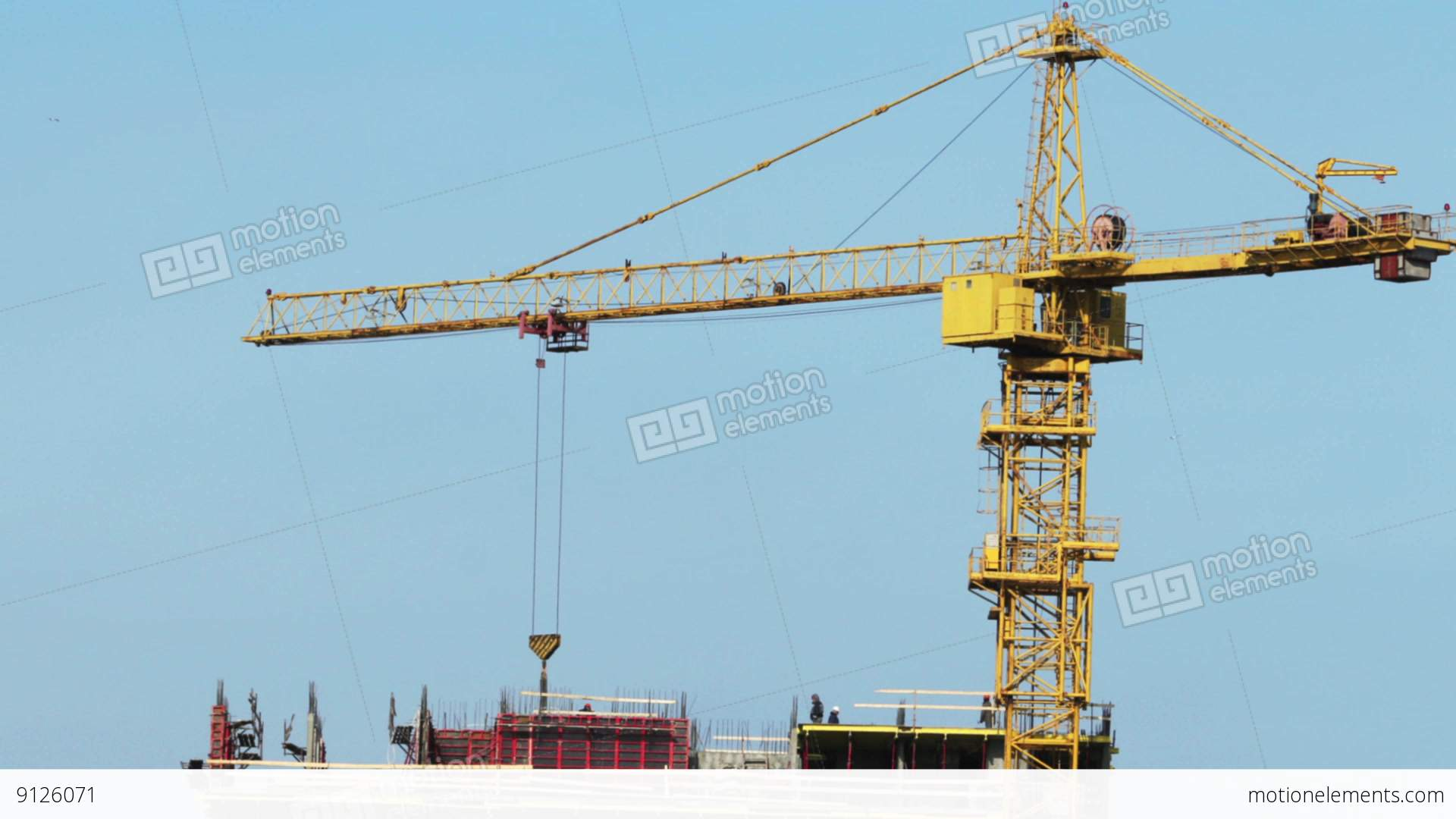 Yellow Tower Crane Time Lapse Stock video footage | 9126071