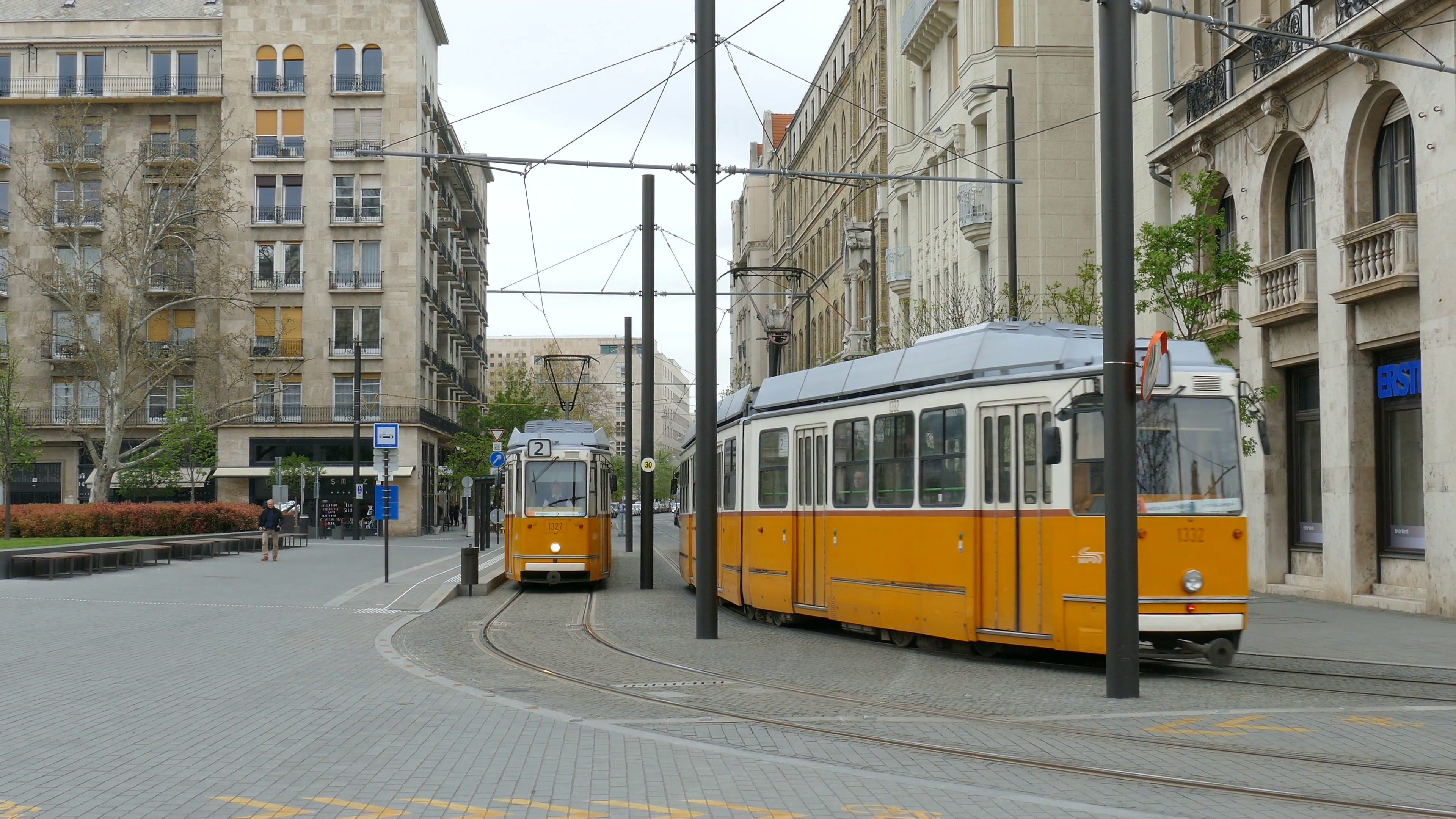 Yellow trams on the street of Budapest, Hungary Stock Video Footage ...