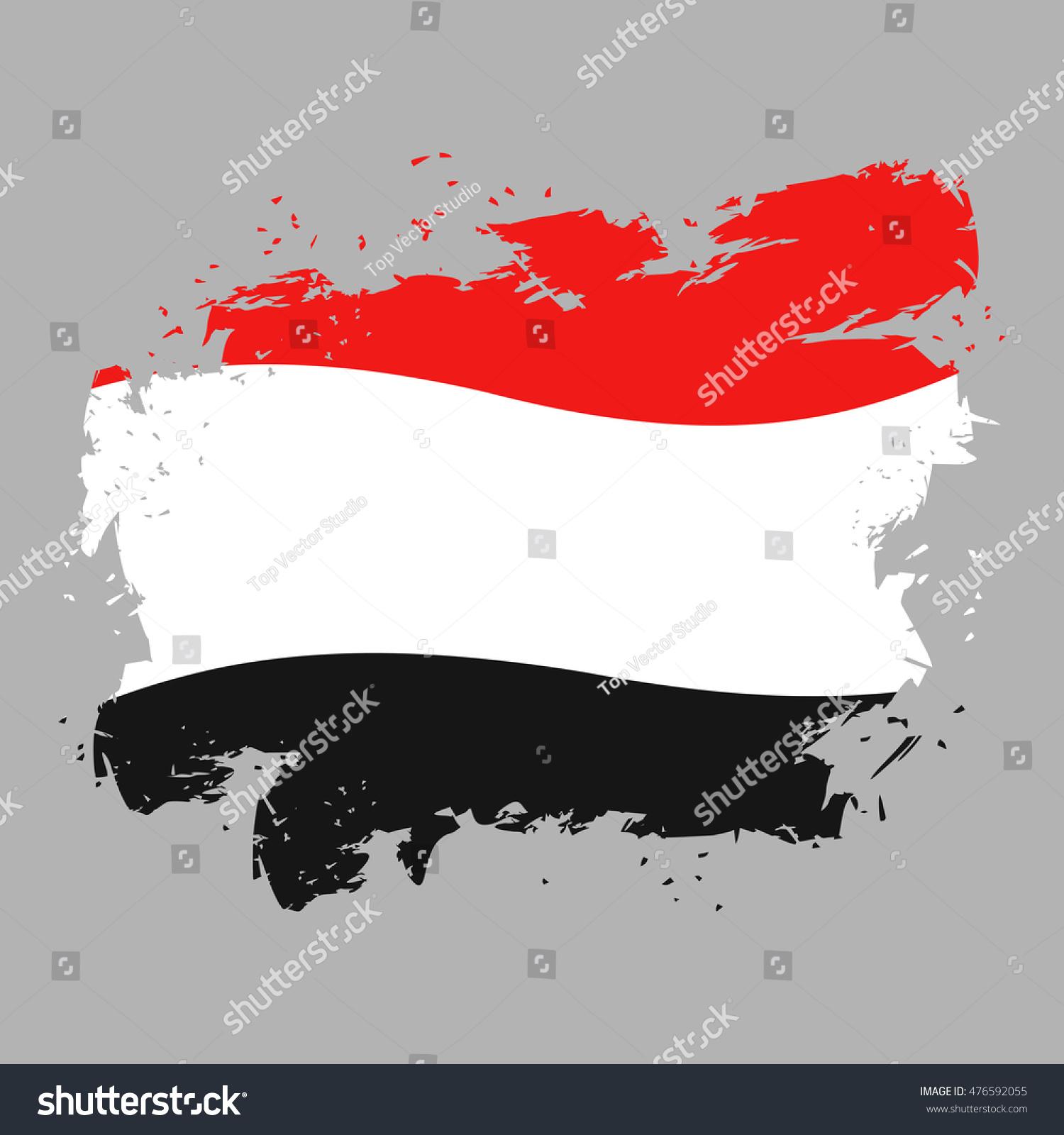 Yemen Flag Grunge Style On Gray Stock Illustration 476592055 ...