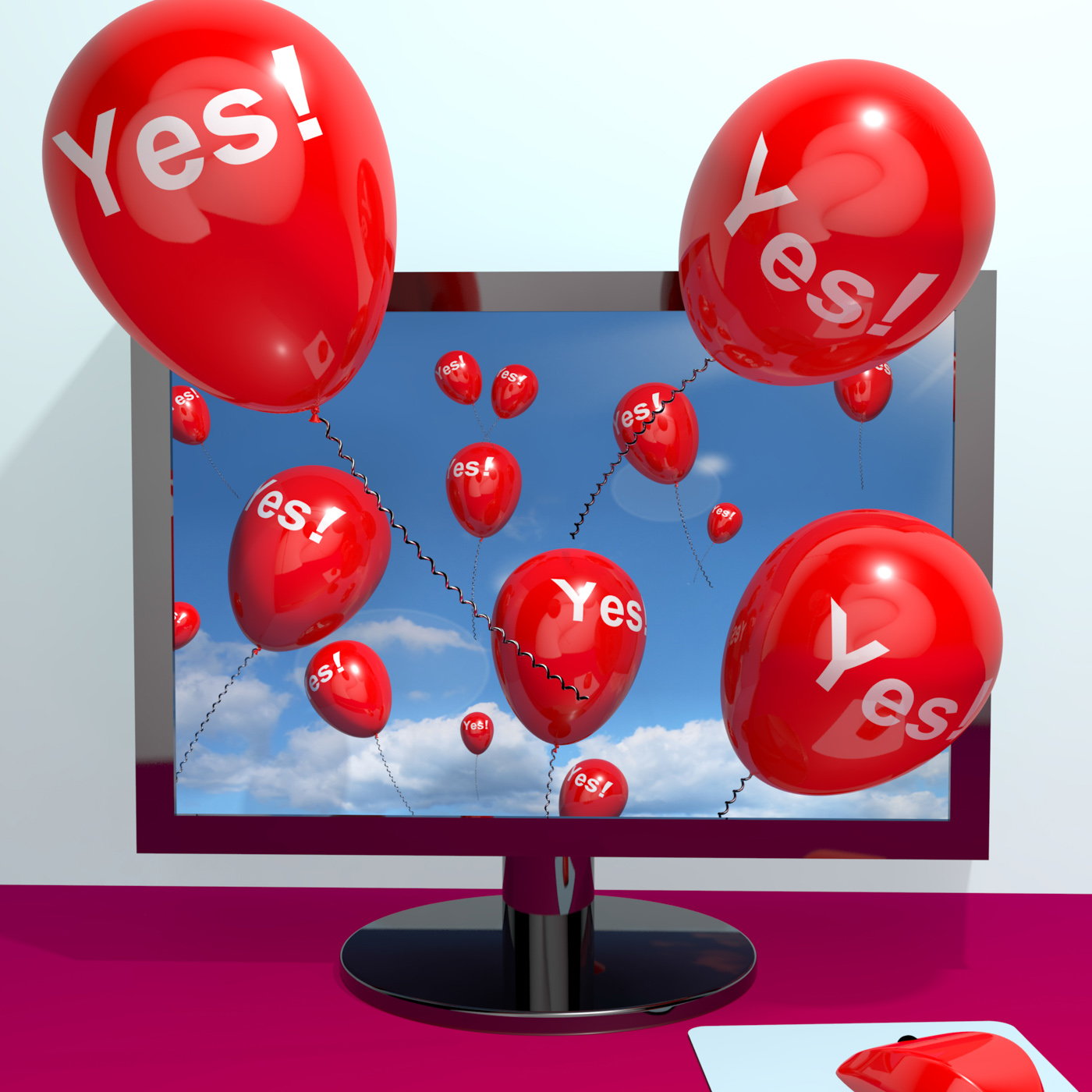 Yes balloons from a computer showing approval and support message onli photo