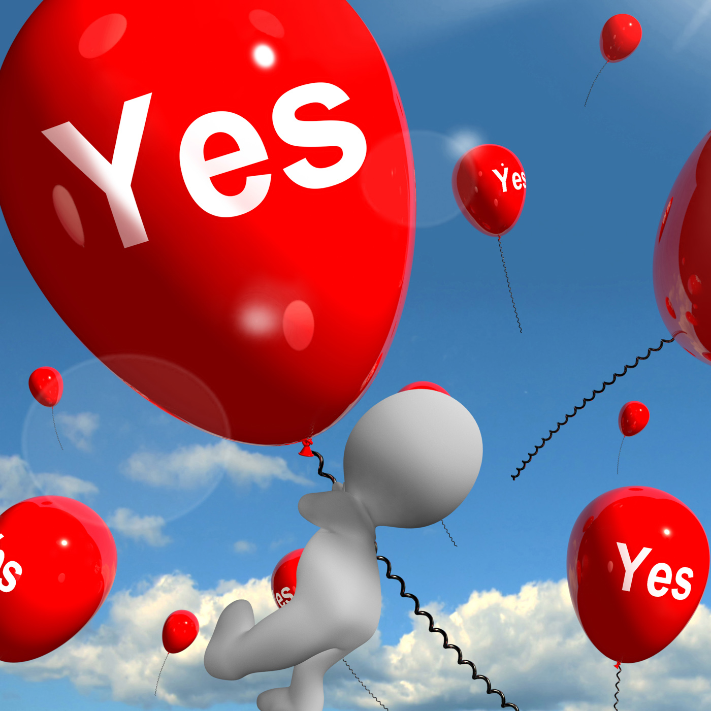 Yes balloons means certainty and affirmative approval photo