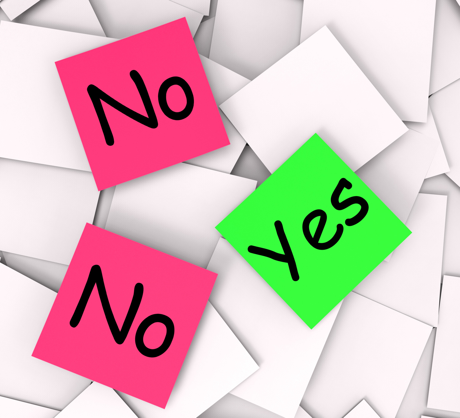 Yes No Post-It Notes Mean Answers Affirmative Or Negative, No, Negative, Not, Fine, HQ Photo