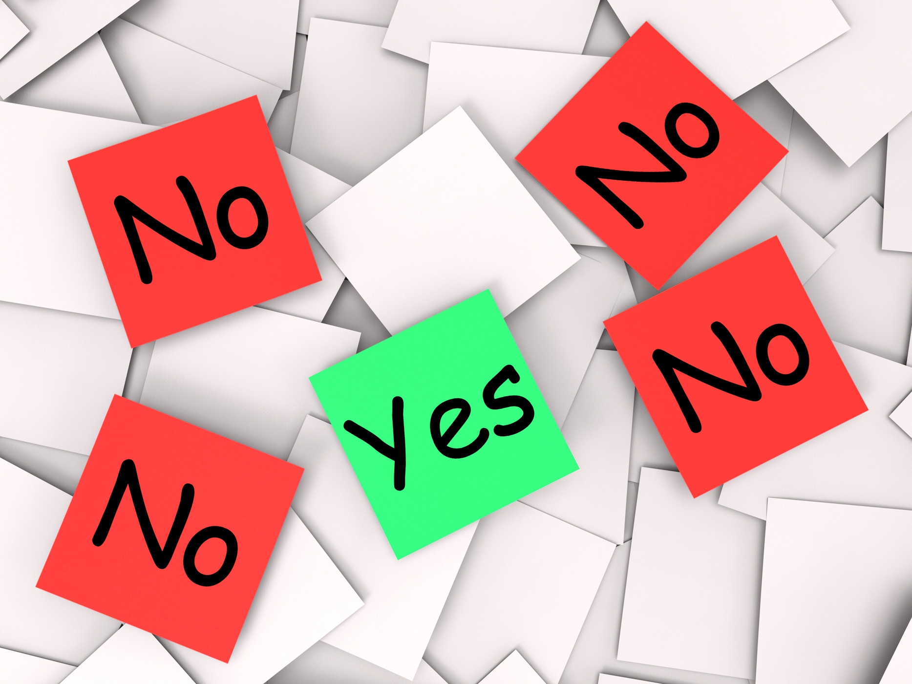 Yes no post-it notes mean positive or declining photo