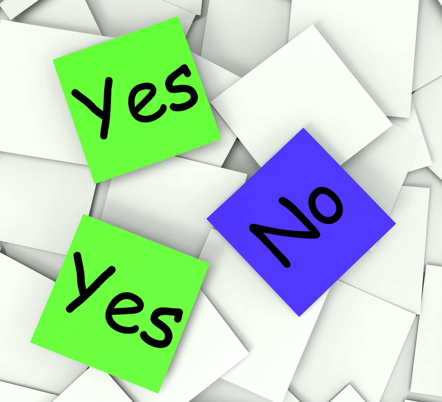 Yes no post-it notes show accept or decline photo