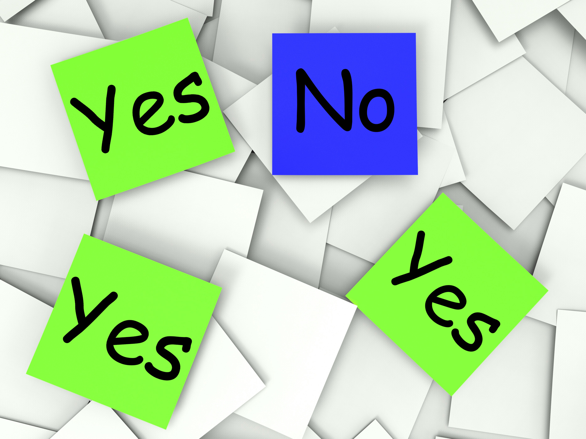 Yes no post-it notes show agree or disagree photo