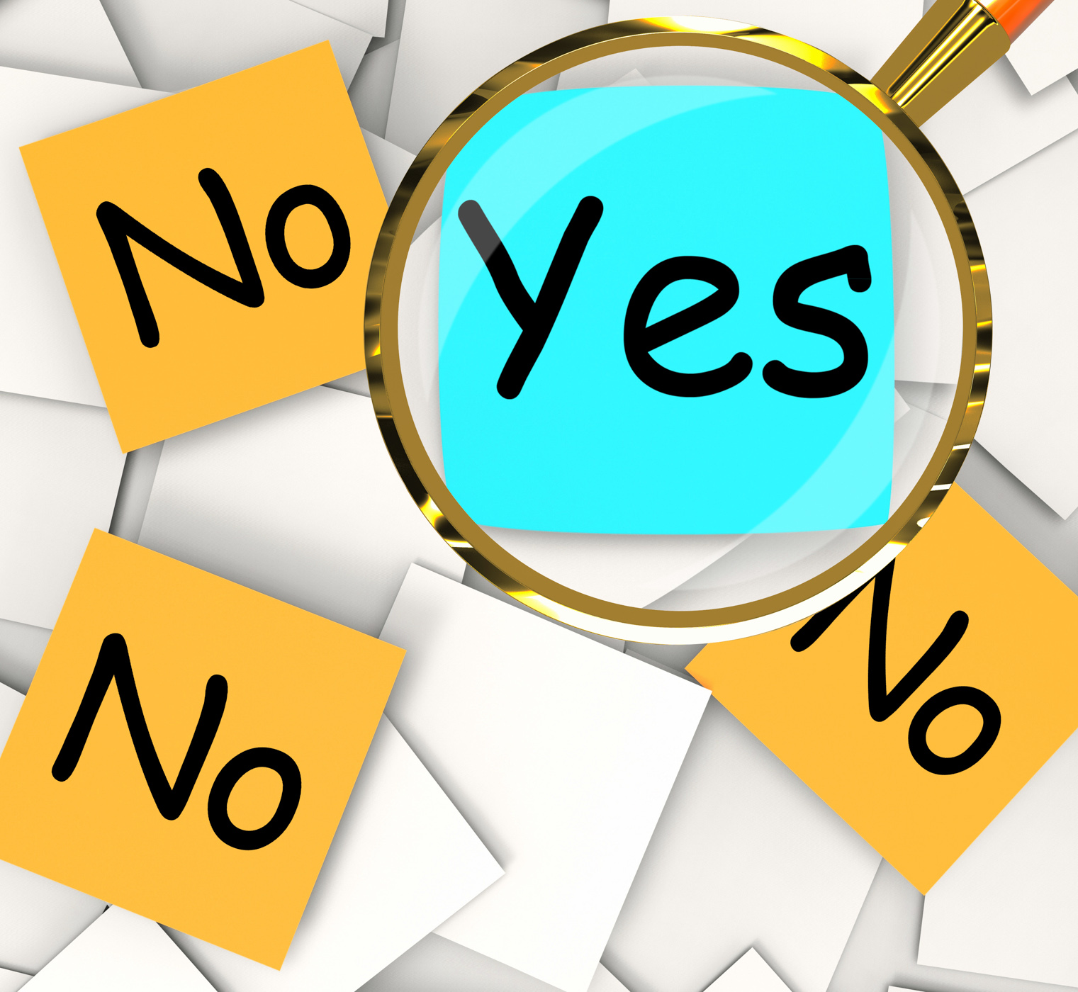 Yes no post-it papers mean positive or negative response photo