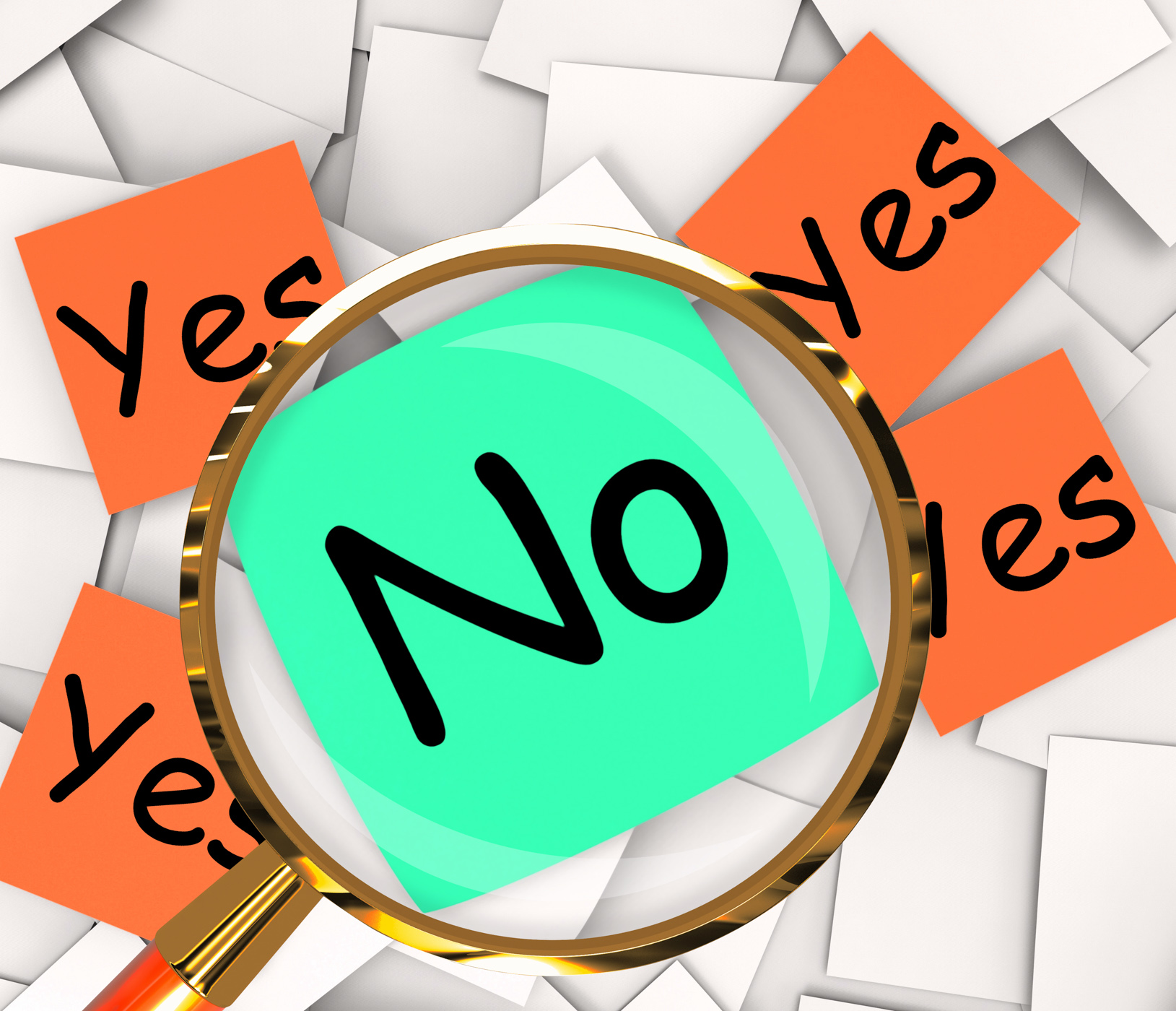 Yes no post-it papers show affirmative or negative photo