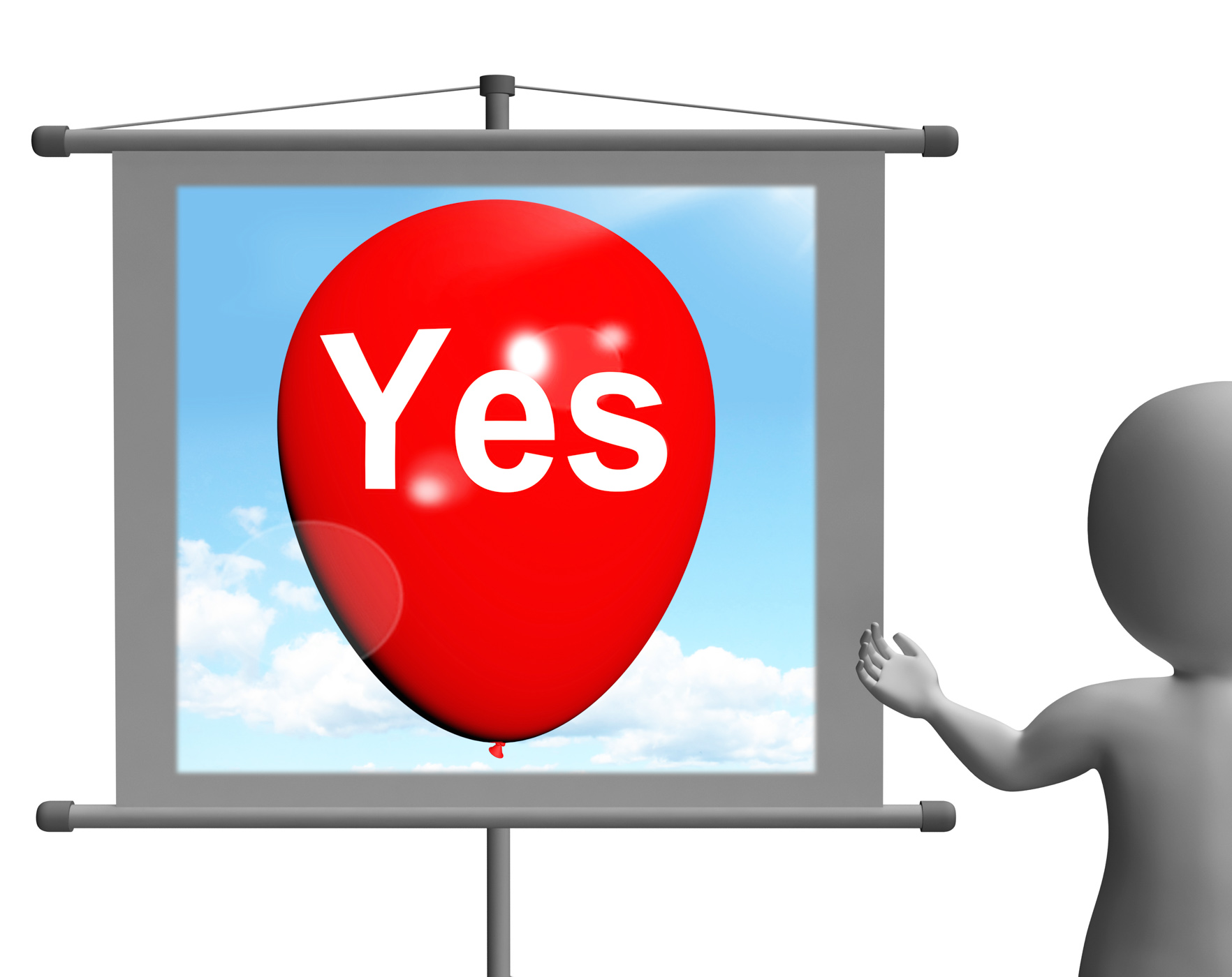 Yes sign means affirmative approval and certainty photo
