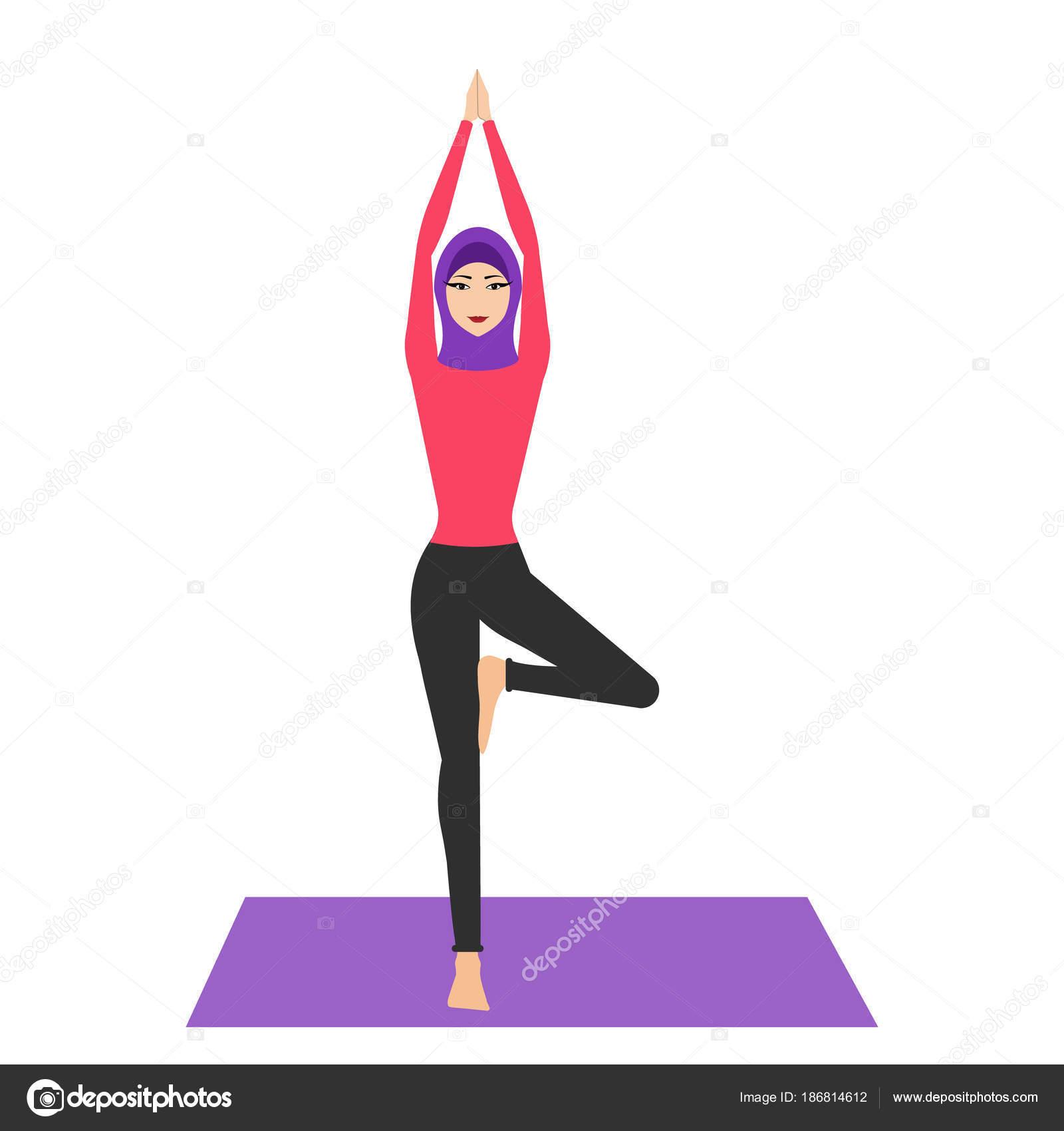 Arab woman in yoga pose with hijab. Young woman wearing hijab ...