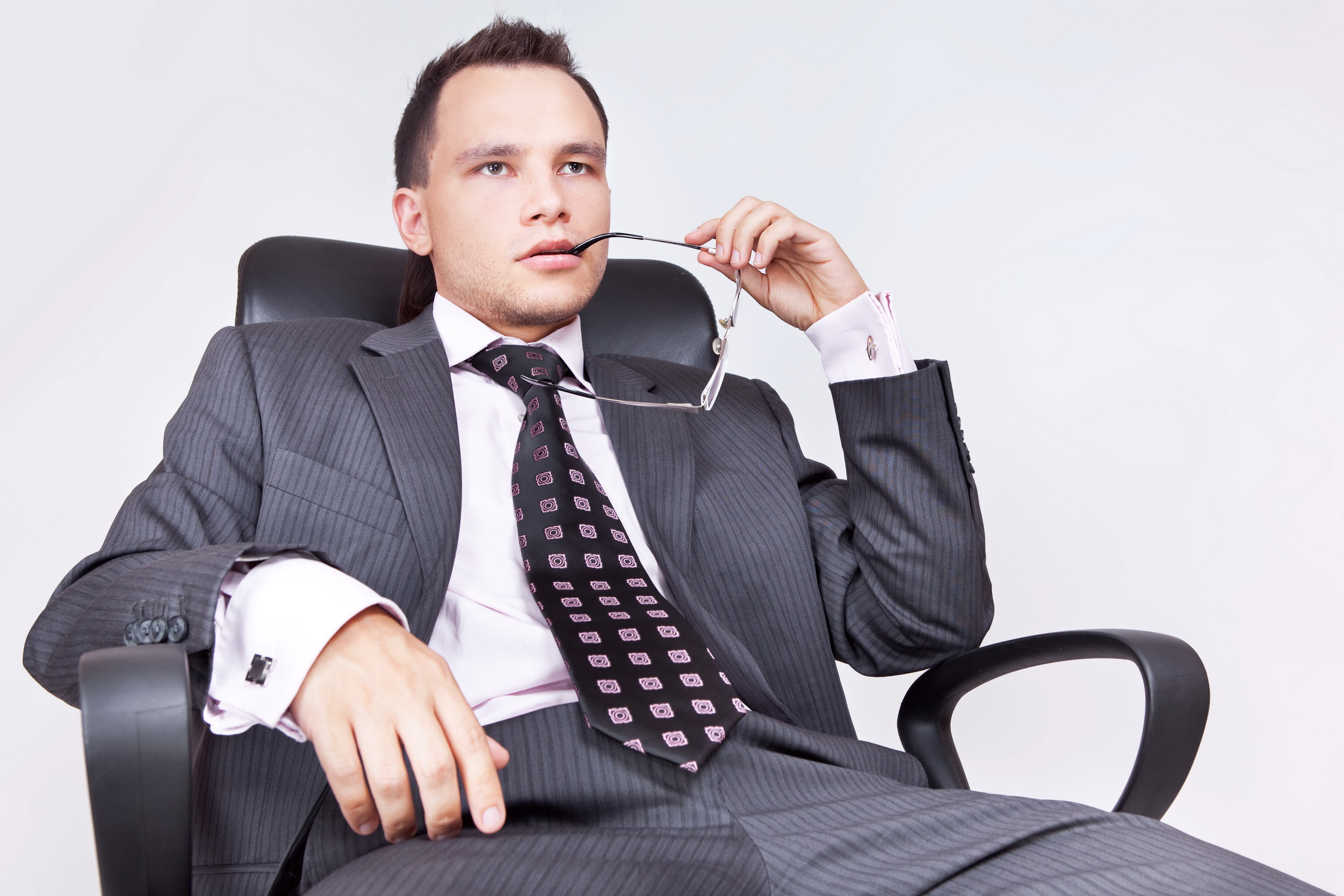 Young Businessman thinks, professional, seat, portrait, person, HQ Photo