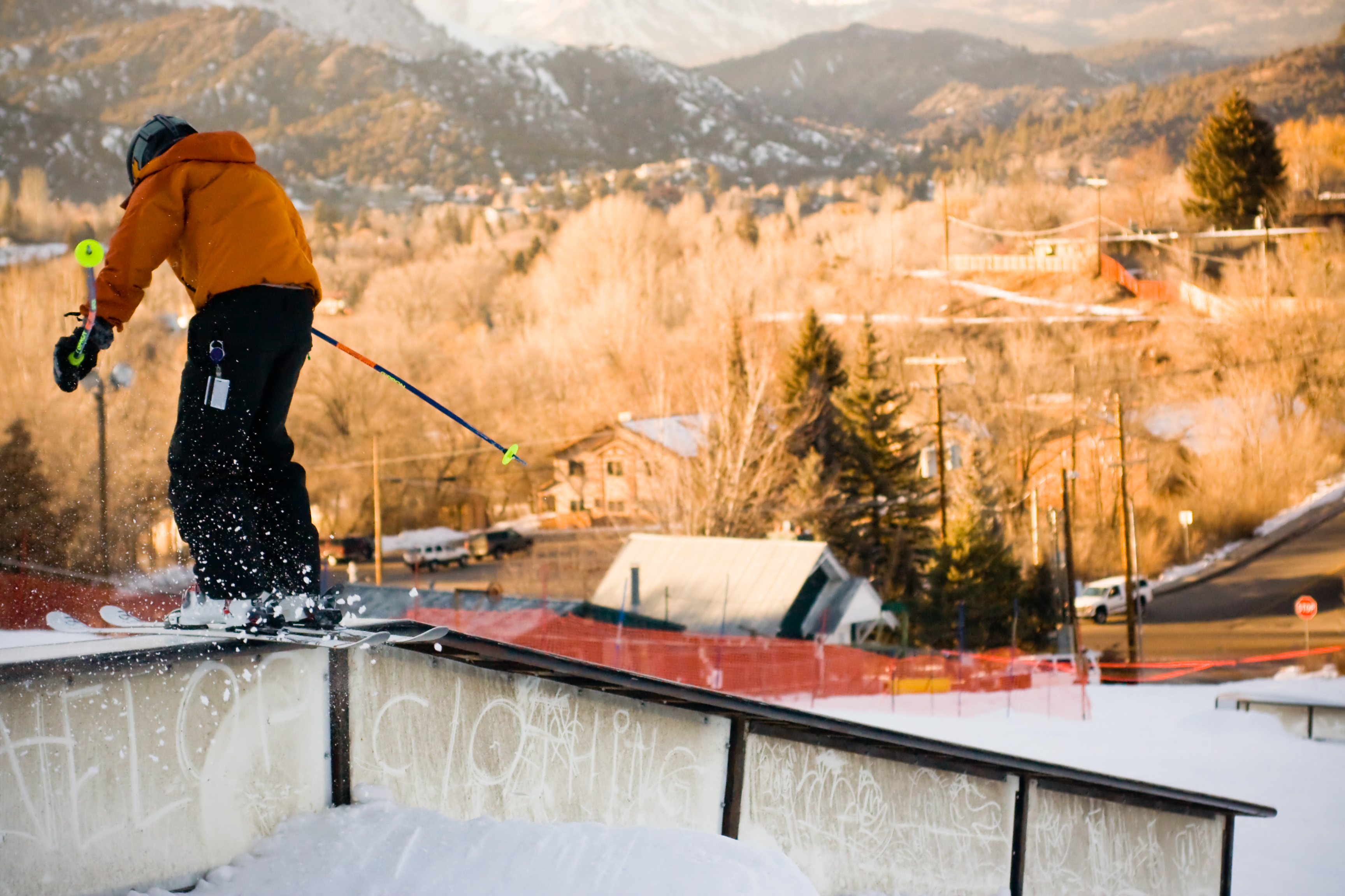 Young trick skier, Action, Poles, Tricks, Trees, HQ Photo