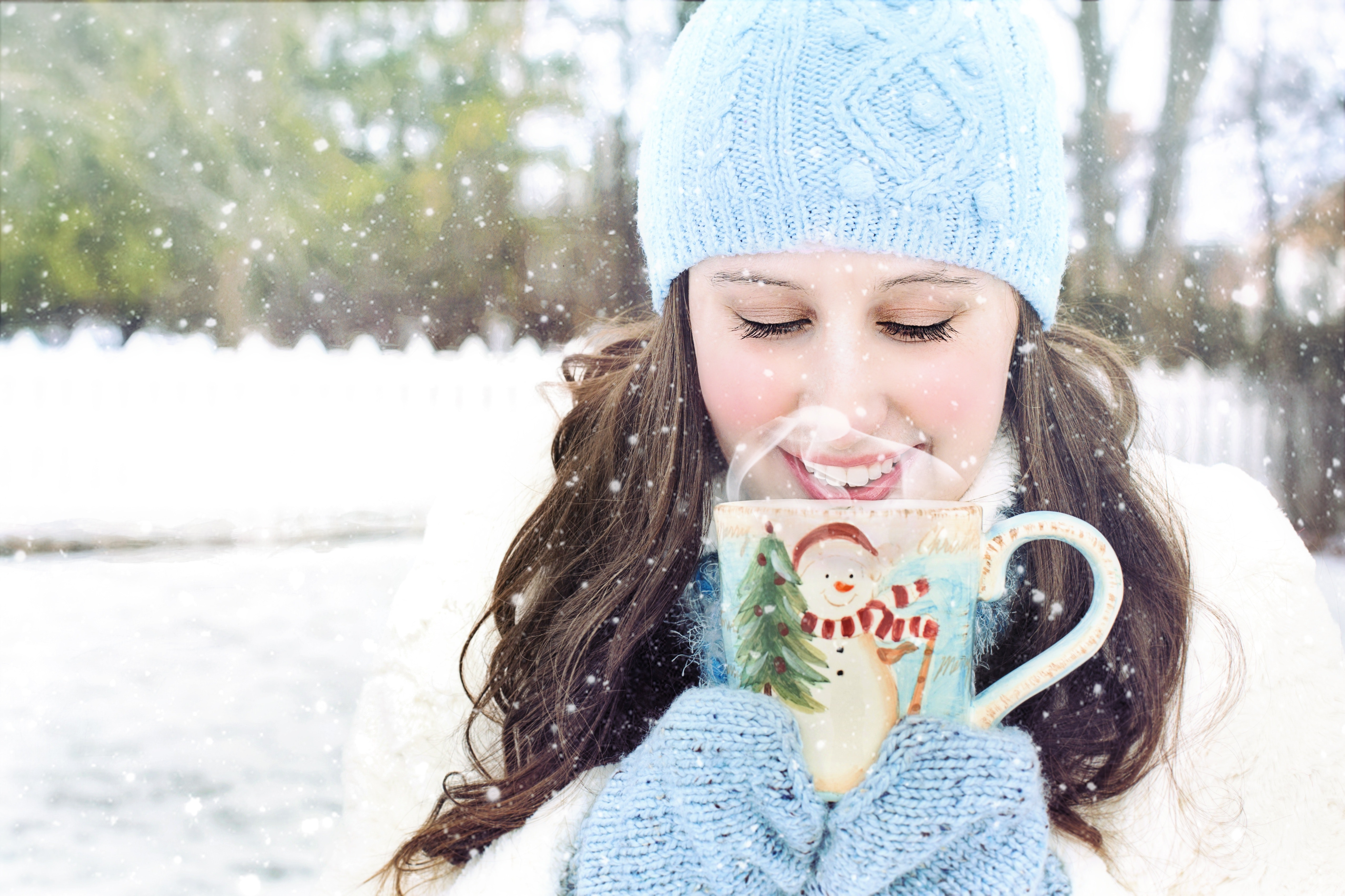 Young woman in snow photo