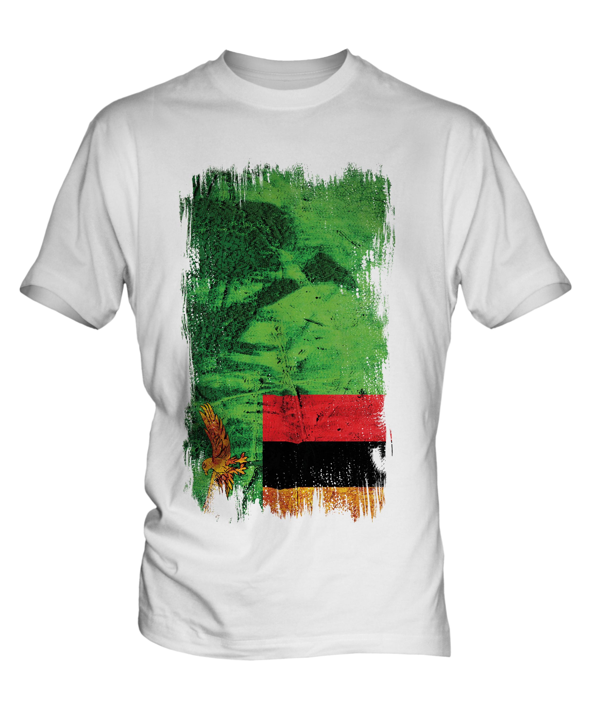 ZAMBIA GRUNGE FLAG MENS T-SHIRT TEE TOP ZAMBIAN SHIRT FOOTBALL ...