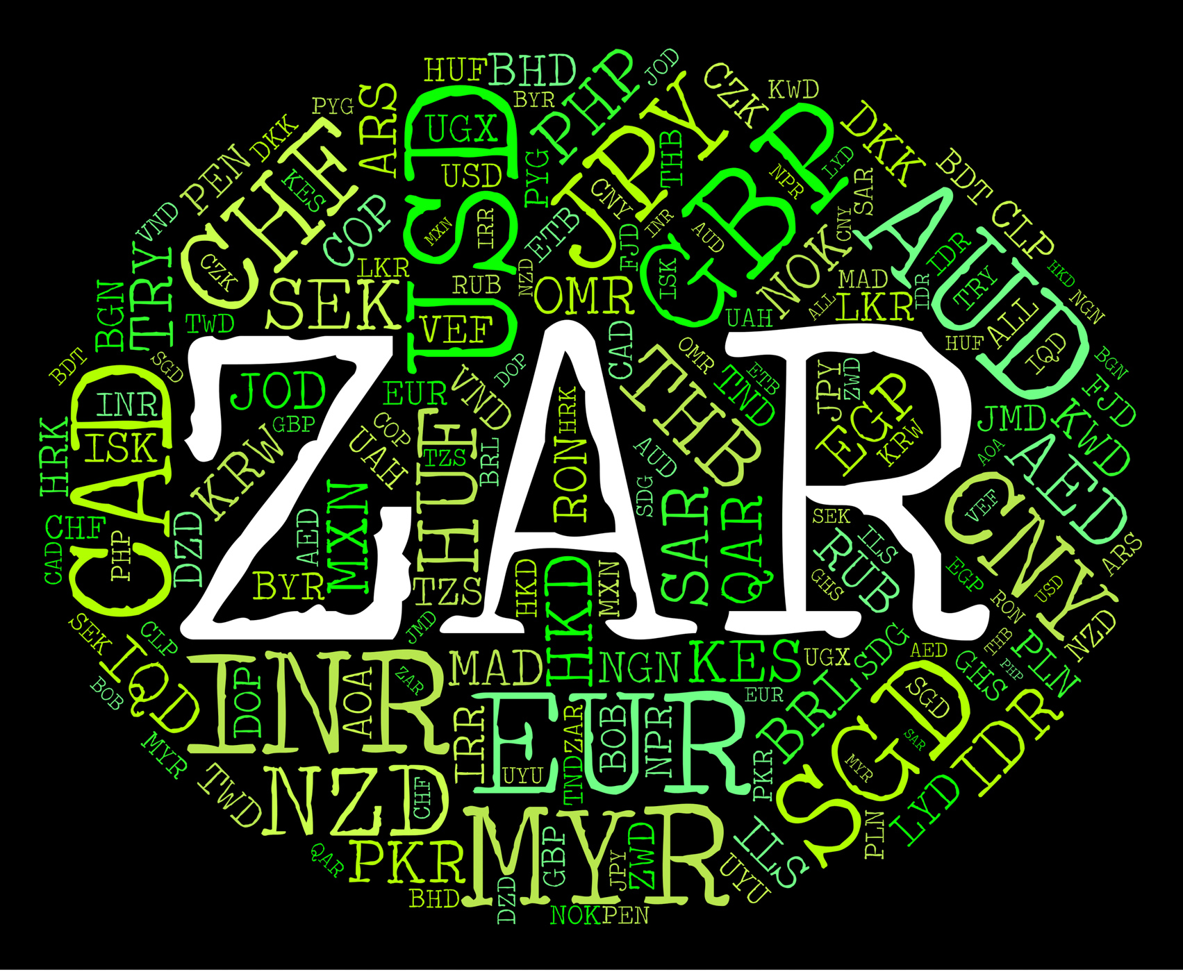 Zar currency represents south african rands and banknote photo