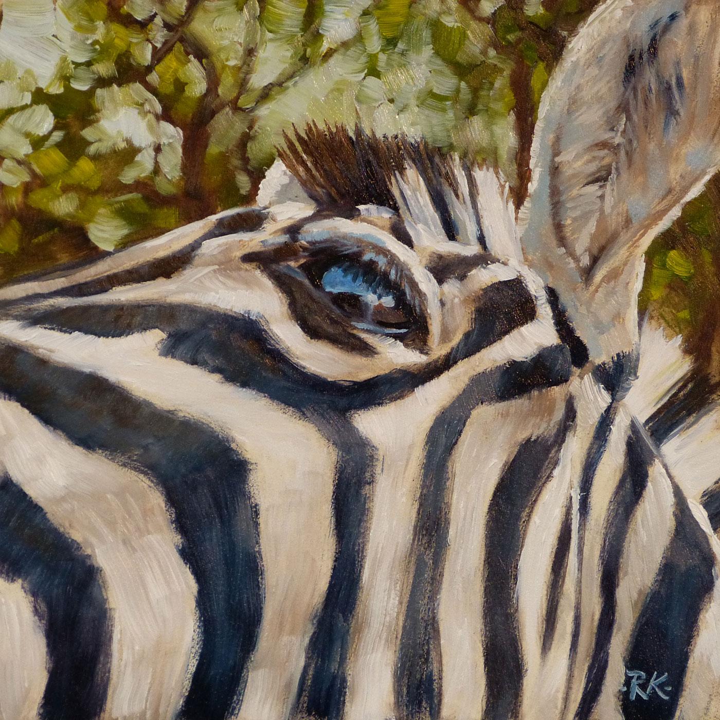 Rita Kirkman's Daily Paintings: Zebra Close Up