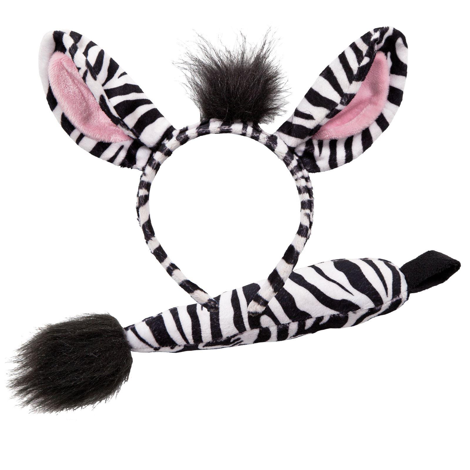 Adults Animal Ears Headband & Tail Set Fancy Dress Party Halloween ...