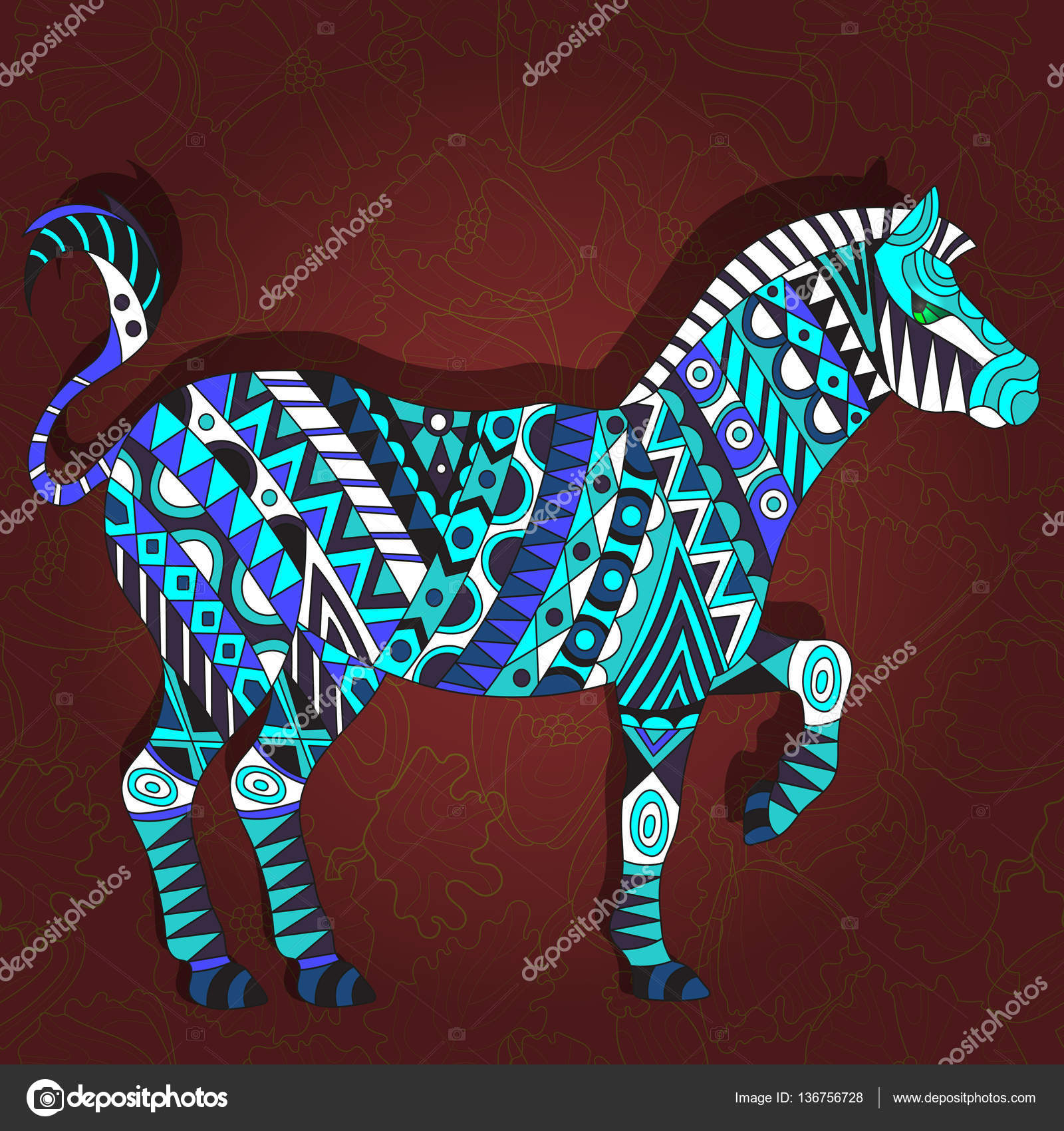 Illustration with abstract Zebra on a dark red floral background ...