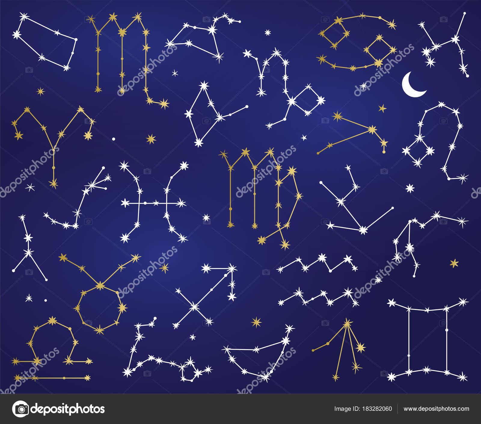 Vector Collection Zodiac Sign Constellations — Stock Vector ...
