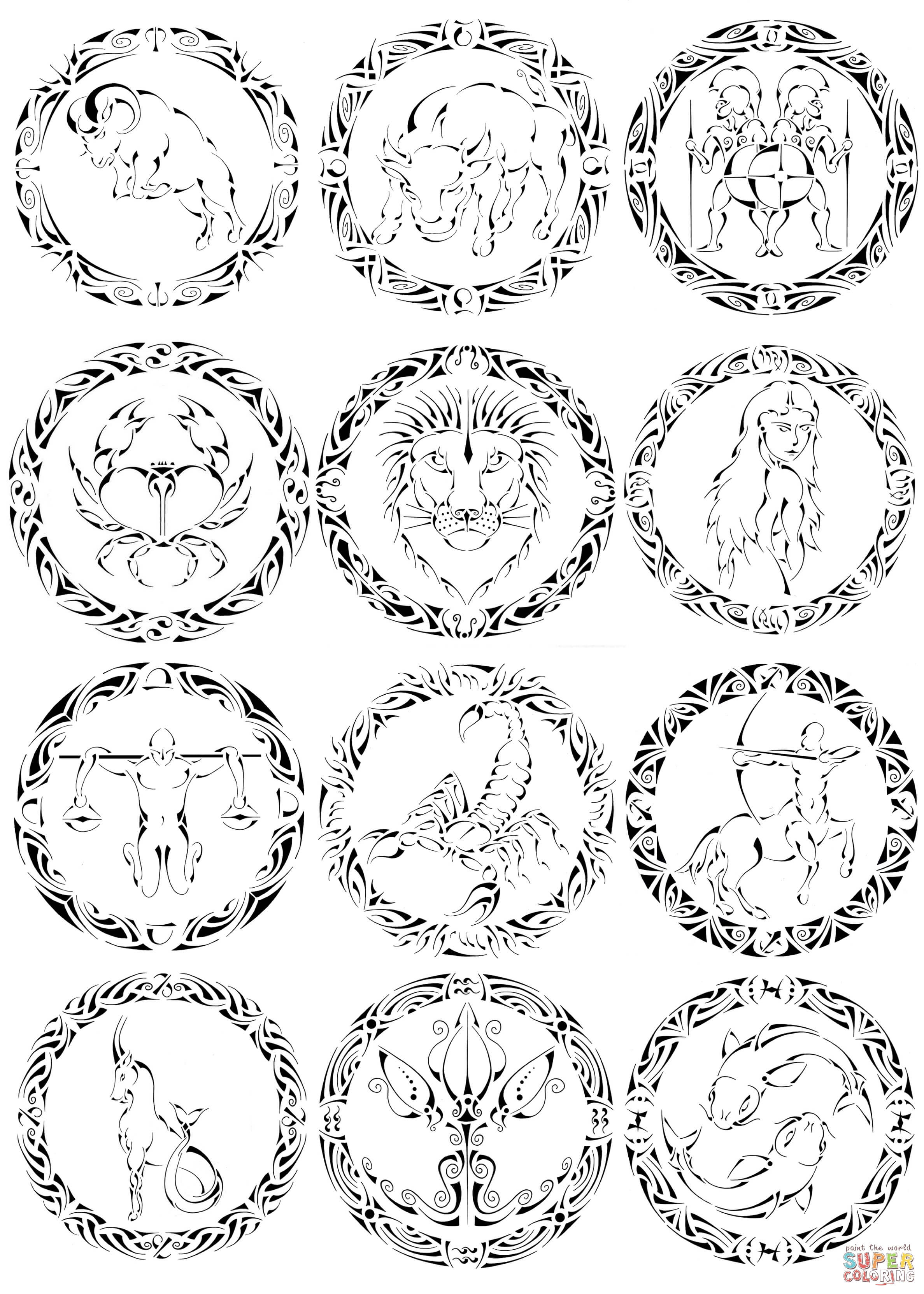 Zodiac Signs by Curvy Tribal coloring page | Free Printable Coloring ...