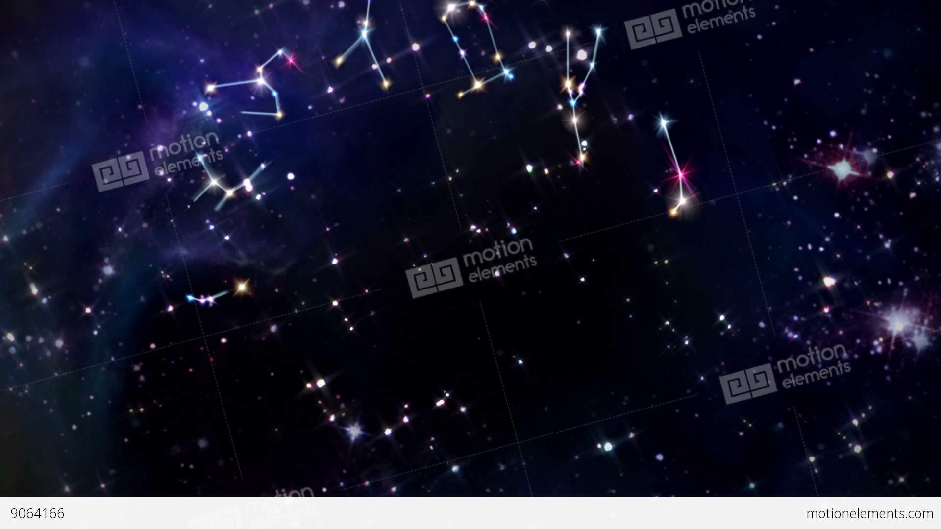 Twelve Horoscopes Zodiac Sign Star Rotation Stock Animation | 9064166