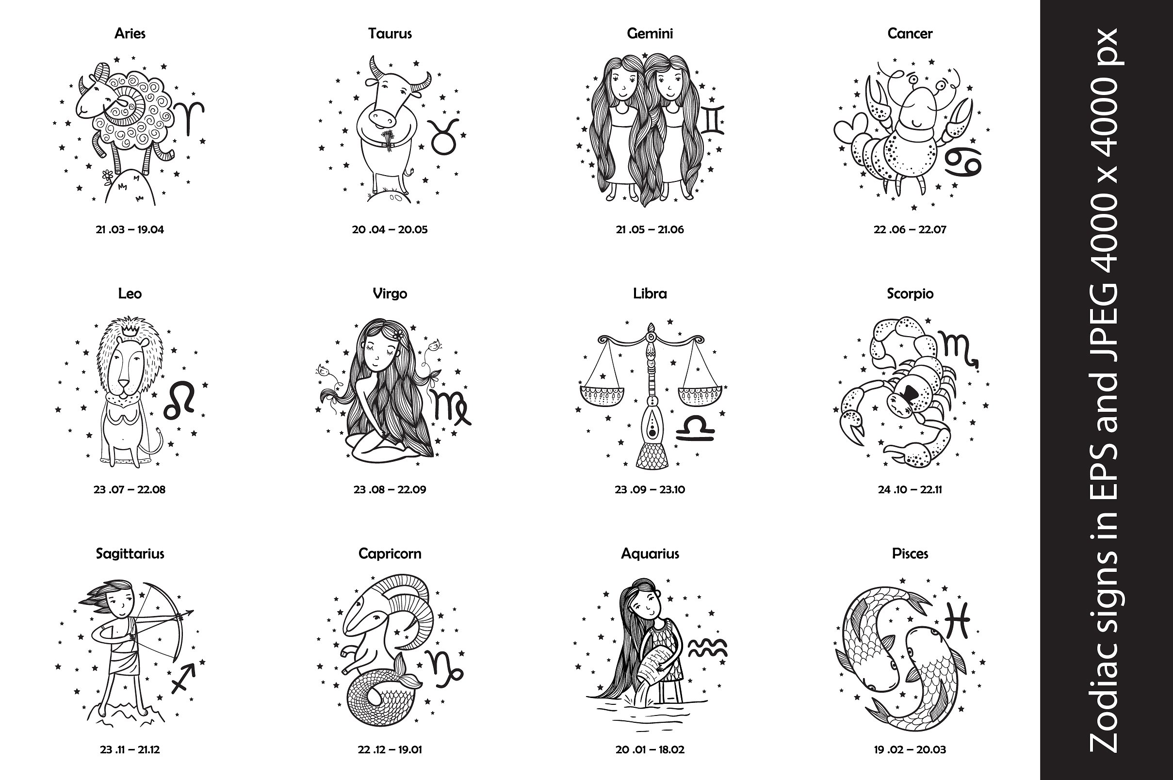 Zodiac signs in EPS10 and JPEG 4000x ~ Graphics ~ Creative Market