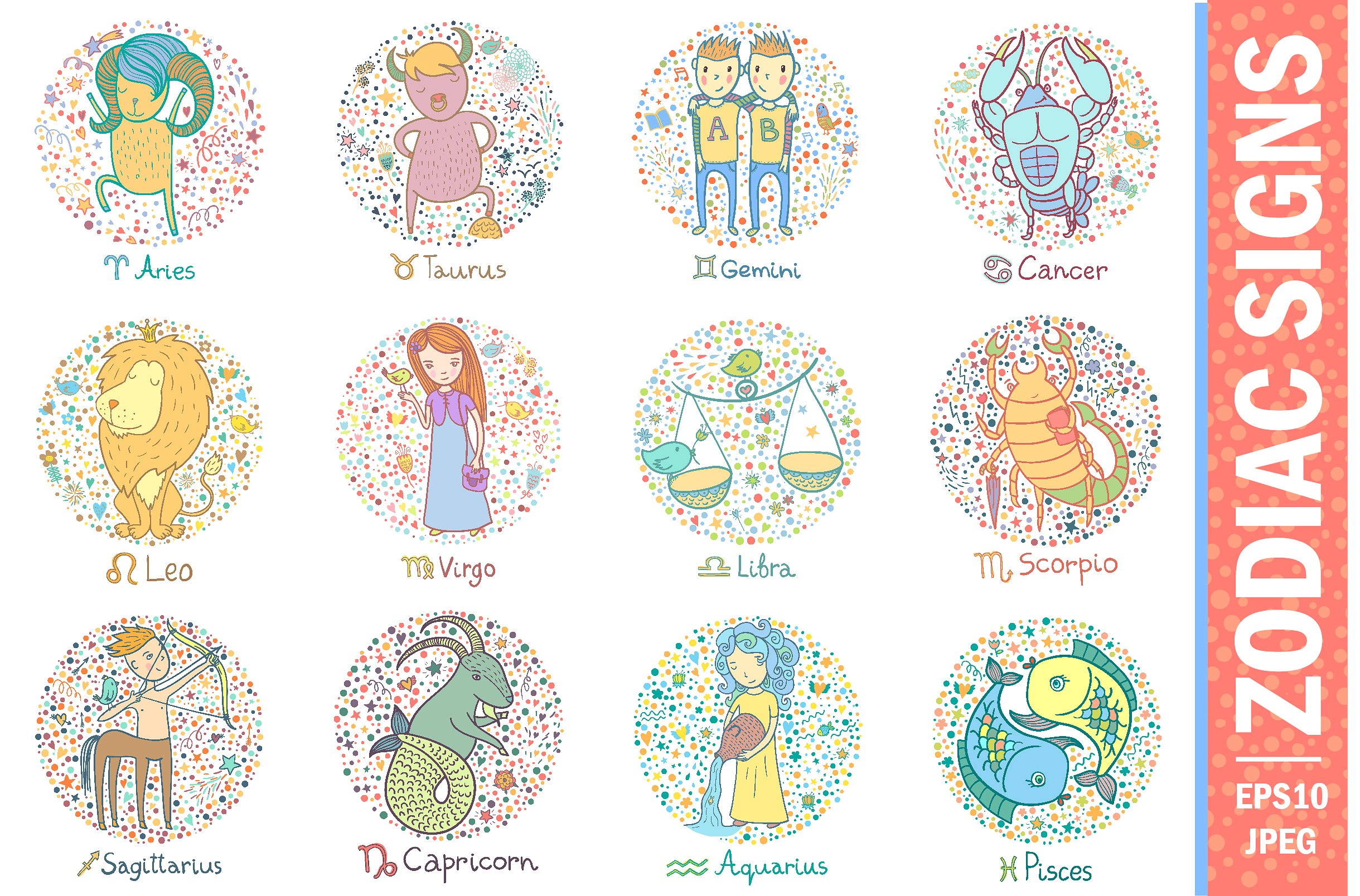 Colorful zodiac signs ~ Illustrations ~ Creative Market