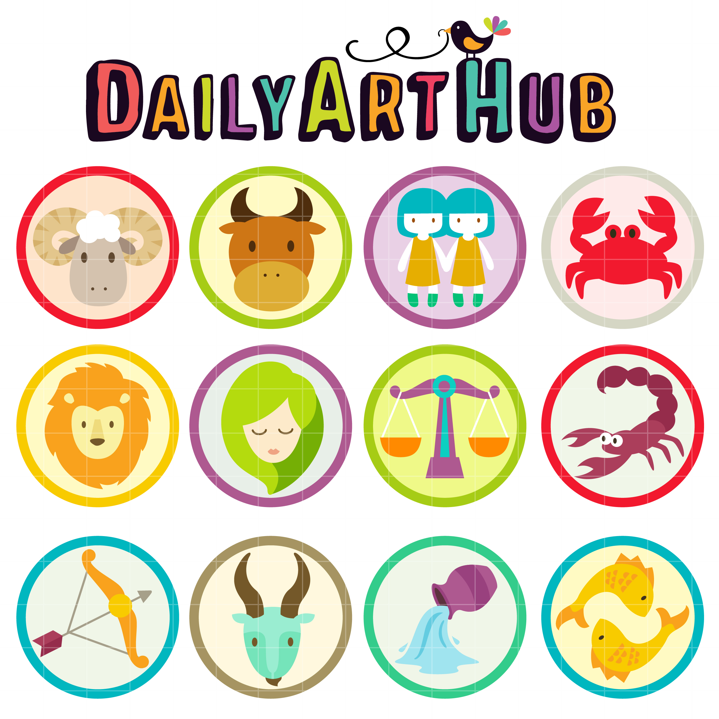 Cute Zodiac Signs Clip Art Set – Daily Art Hub – Free Clip Art Everyday
