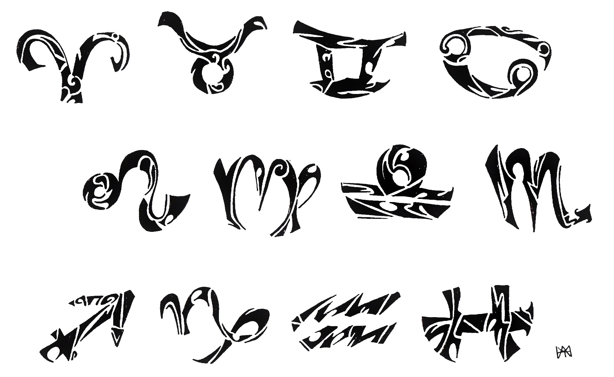 58+ Tribal Zodiac Sign Tattoos Designs