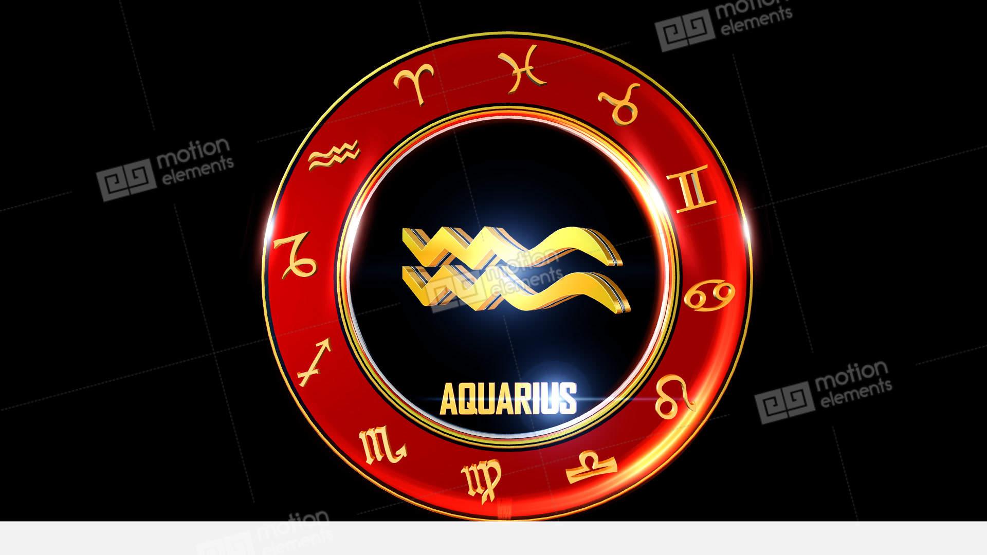 AQUARIUS Zodiac Sign It`s Nice Rotating 3d Golden Zodiac Sign ...