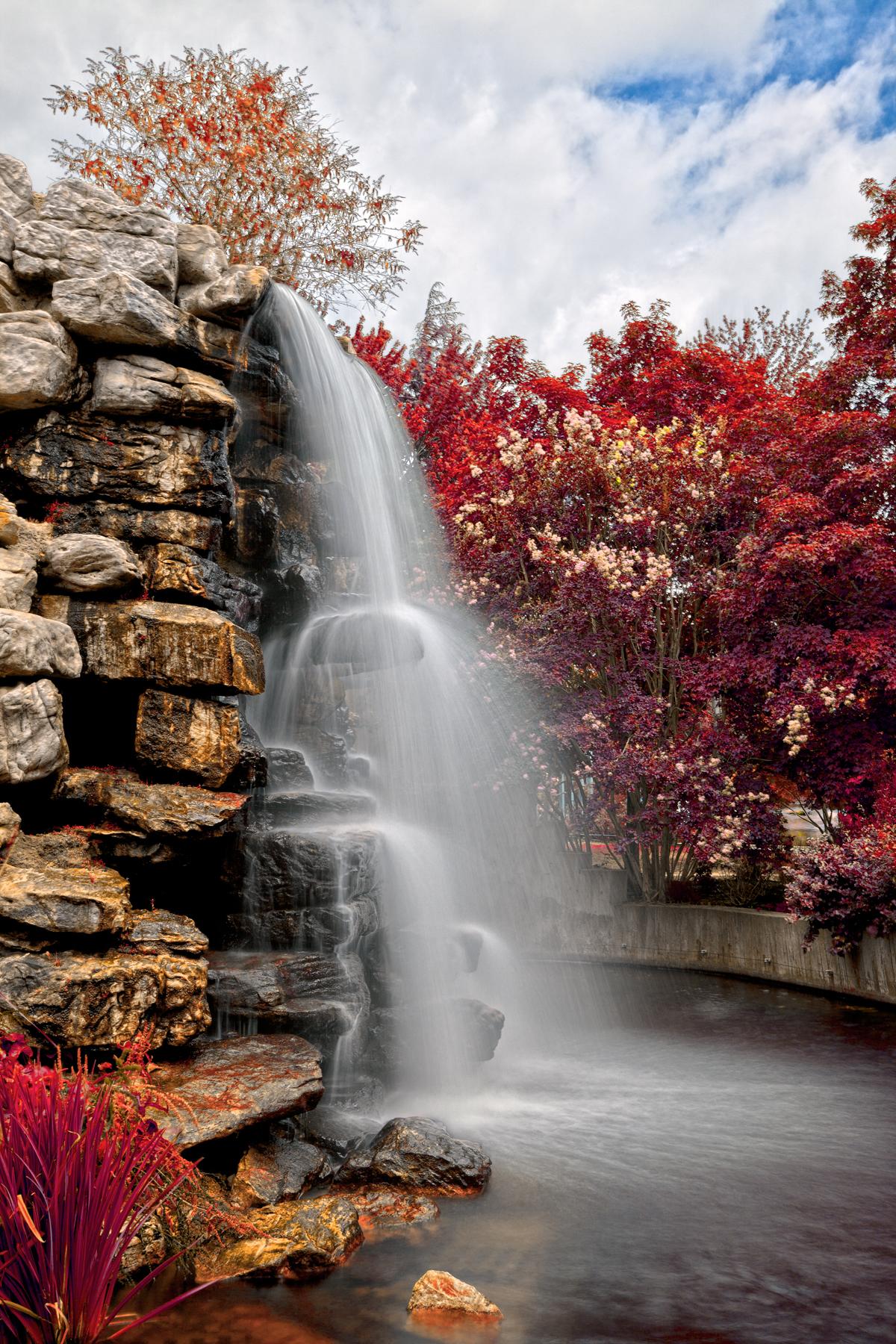 Zoo waterfall - autumn warm hdr photo