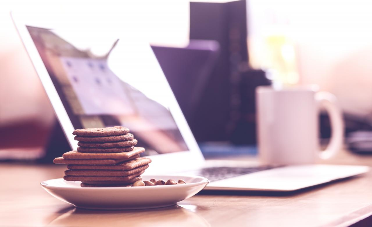 Biscuits in White Saucer, laptop, food, saucer, table, HQ Photo