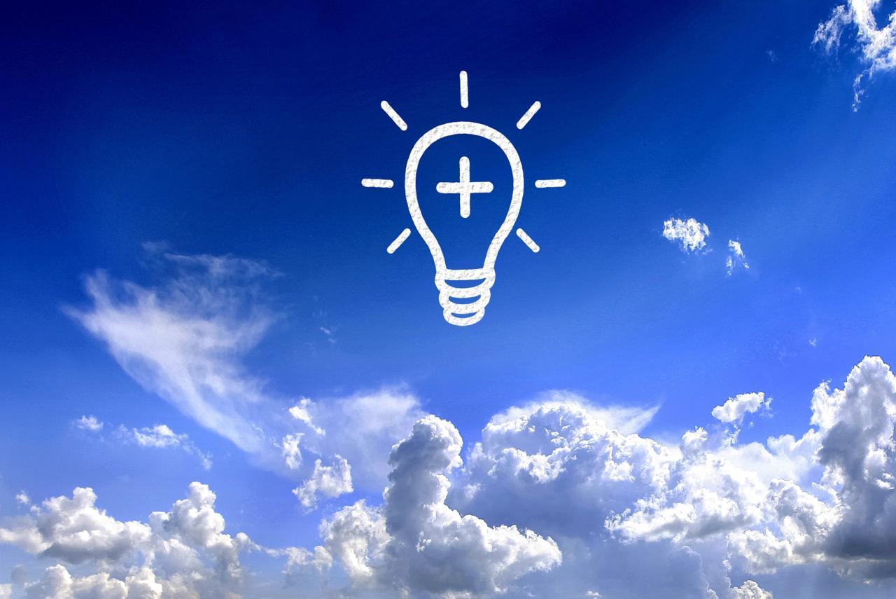 Light bulb in the sky - Brilliant ideas concept, positivism, positivity, positive, pictogram, HQ Photo